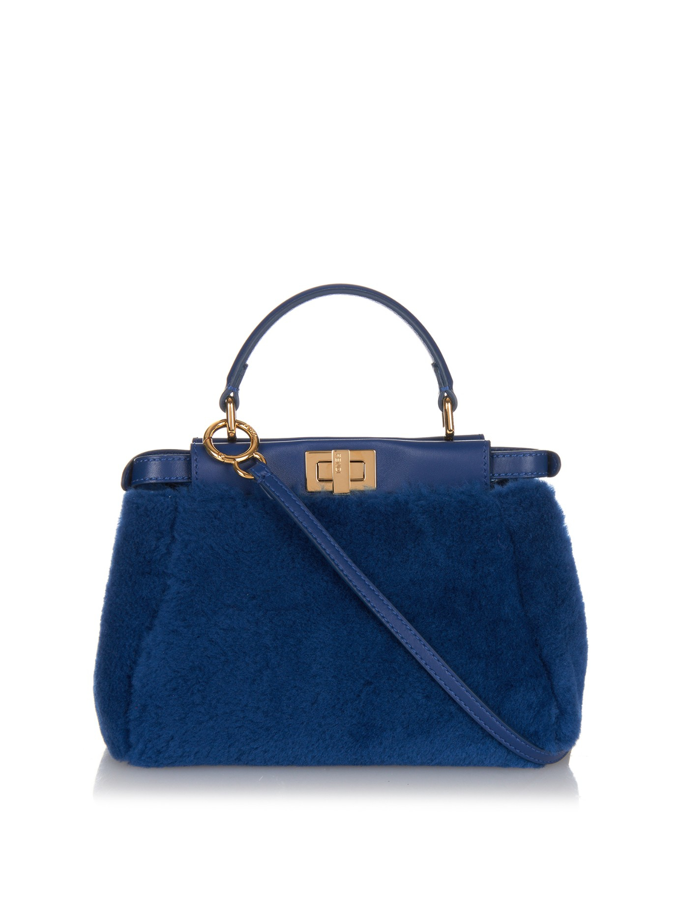 310c564be2 Lyst - Fendi Mini Peekaboo Shearling Cross-body Bag in Blue