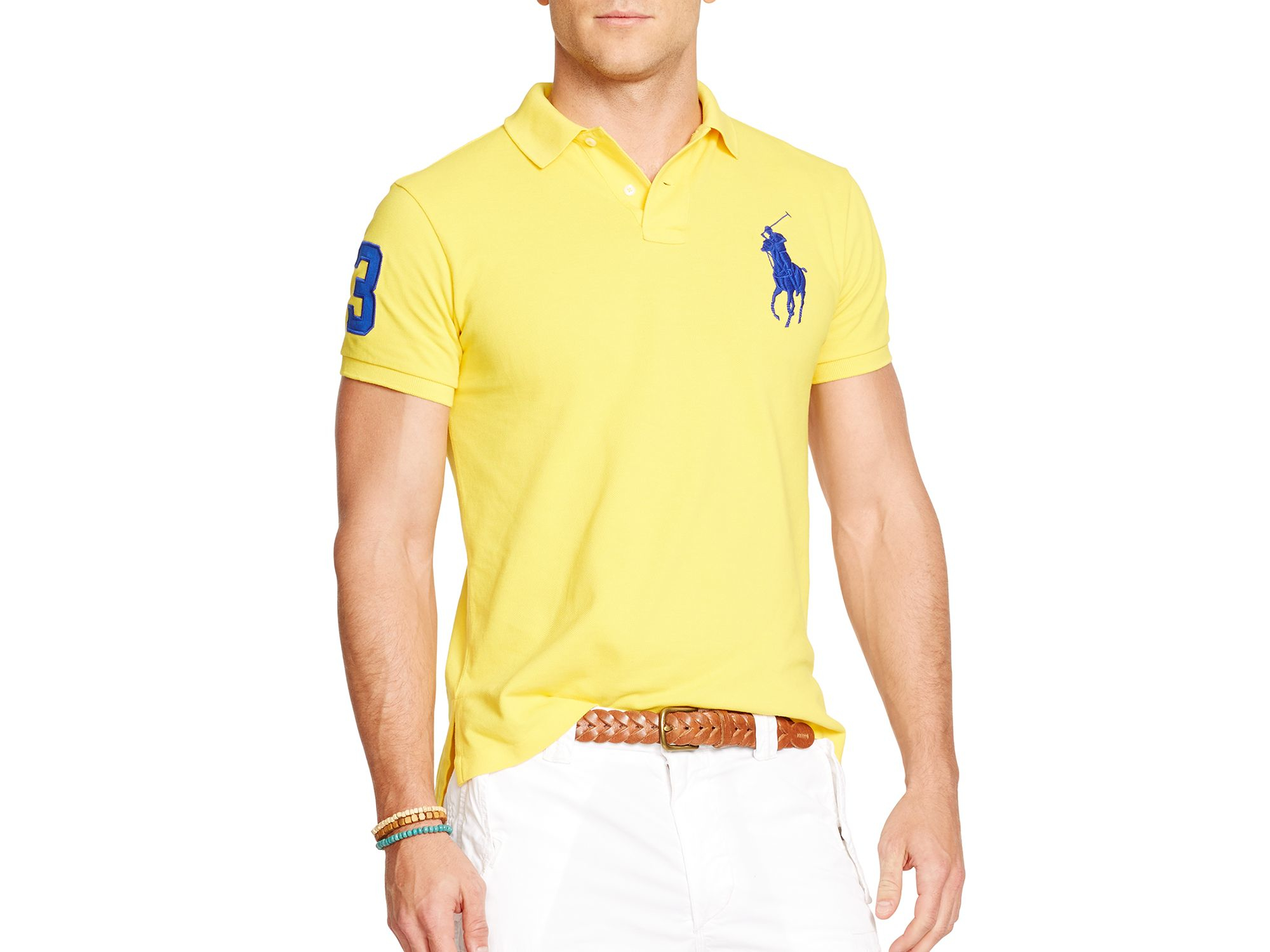 Lyst - Ralph Lauren Polo Custom-fit Big Pony Mesh Polo Shirt - Slim ... 250ea5ebcd0c8