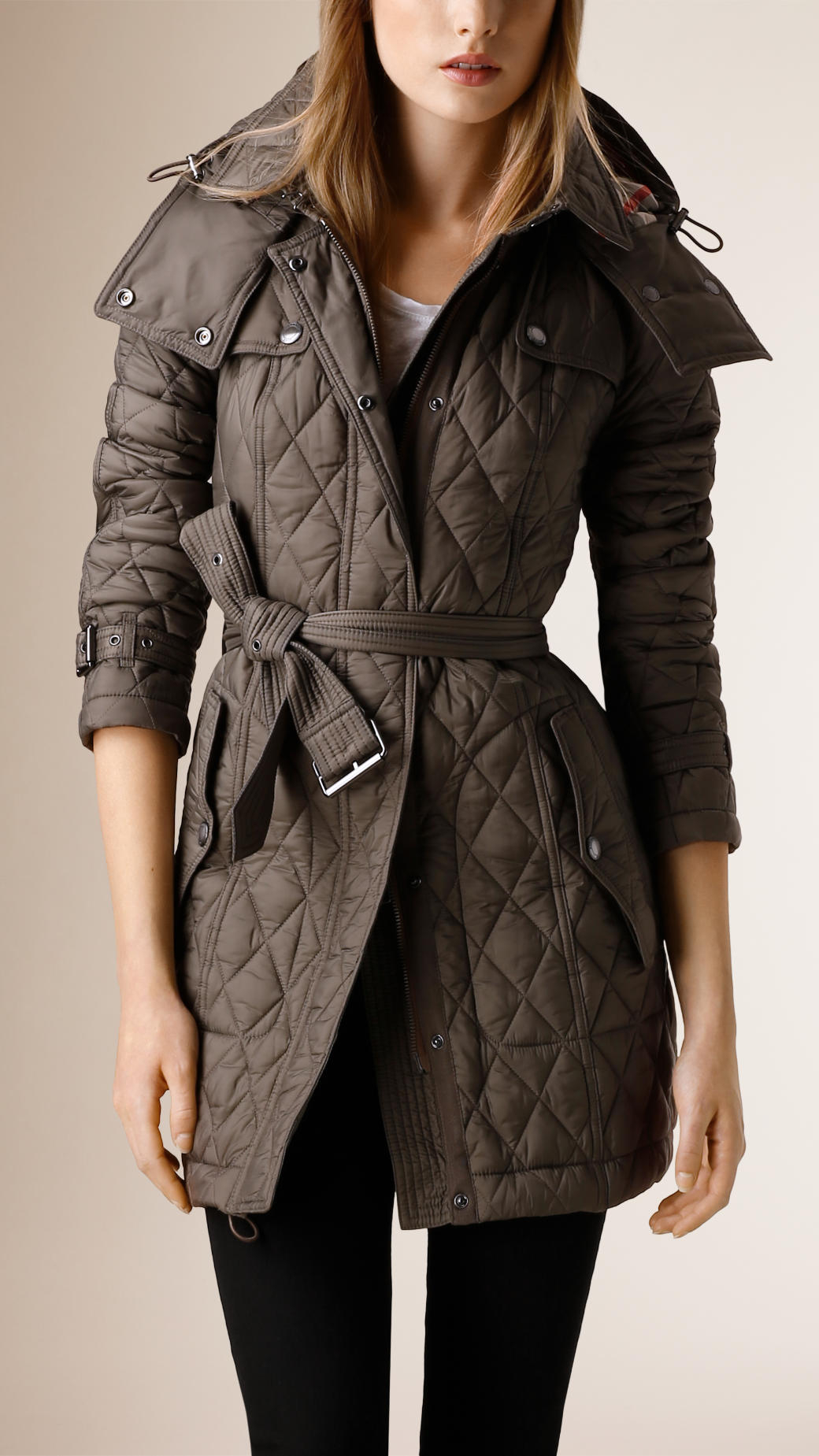 Lyst Burberry Diamond Quilted Coat In Gray