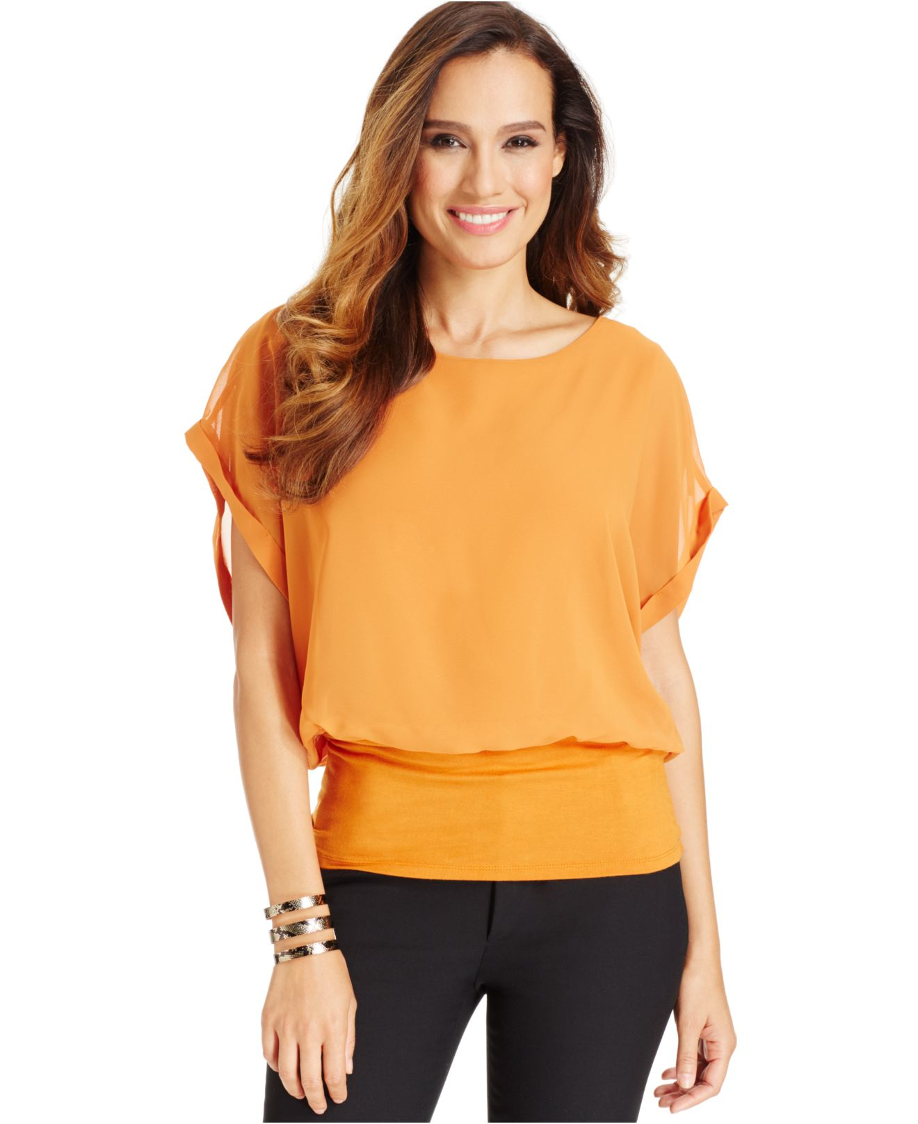 lyst joseph a dolman sleeve blouson top in orange. Black Bedroom Furniture Sets. Home Design Ideas