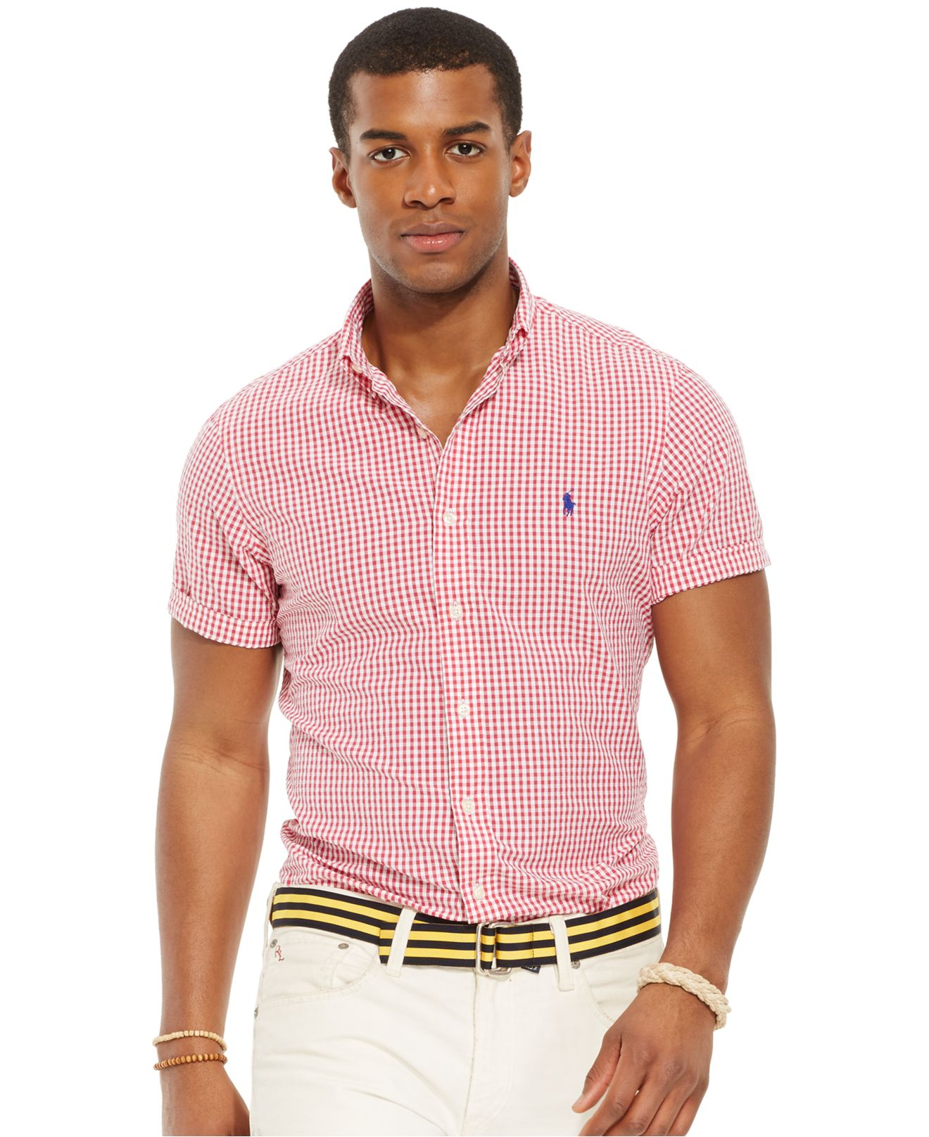 bcc23b02a ... official lyst polo ralph lauren check seersucker shirt in red for men  7ad86 f7a26