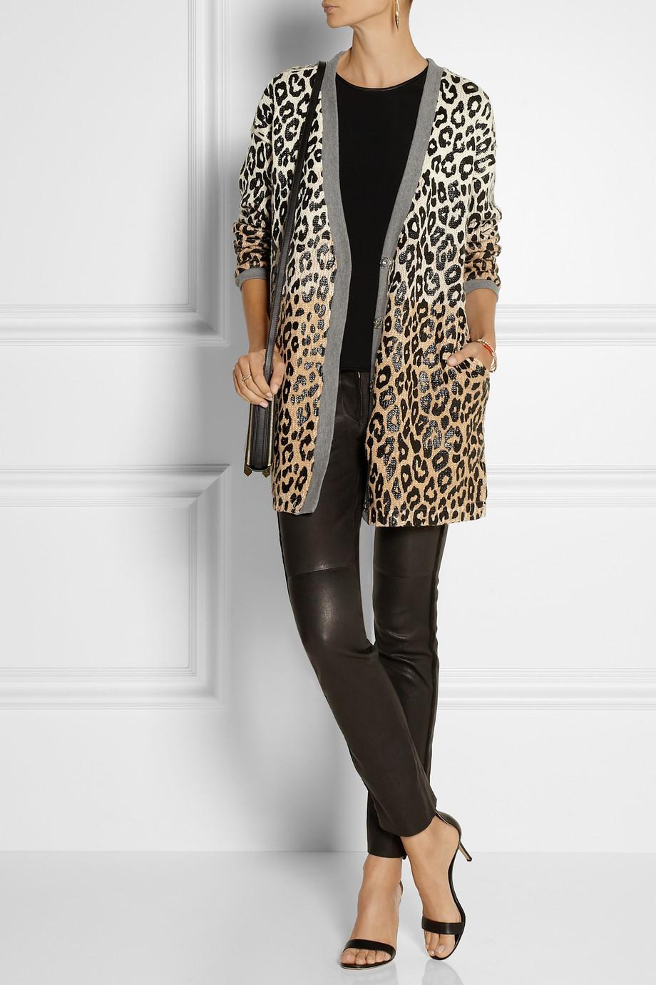 Elizabeth and james Leopard-print Cotton-blend Cardigan | Lyst