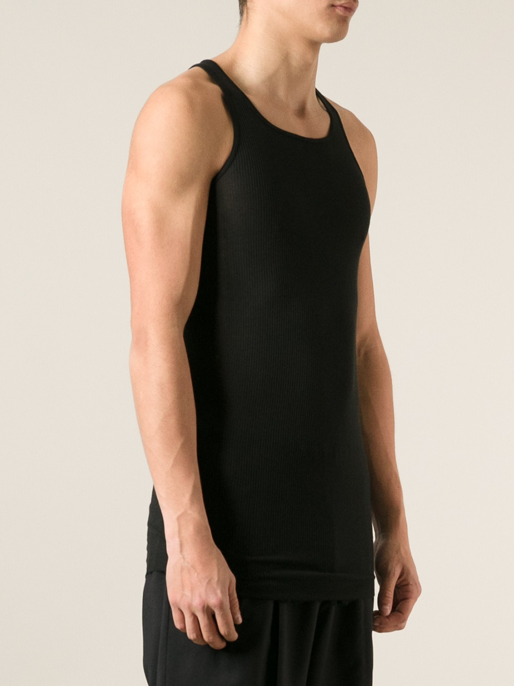 f764785635969 Lyst - Rick Owens Ribbed Tank Top in Black for Men