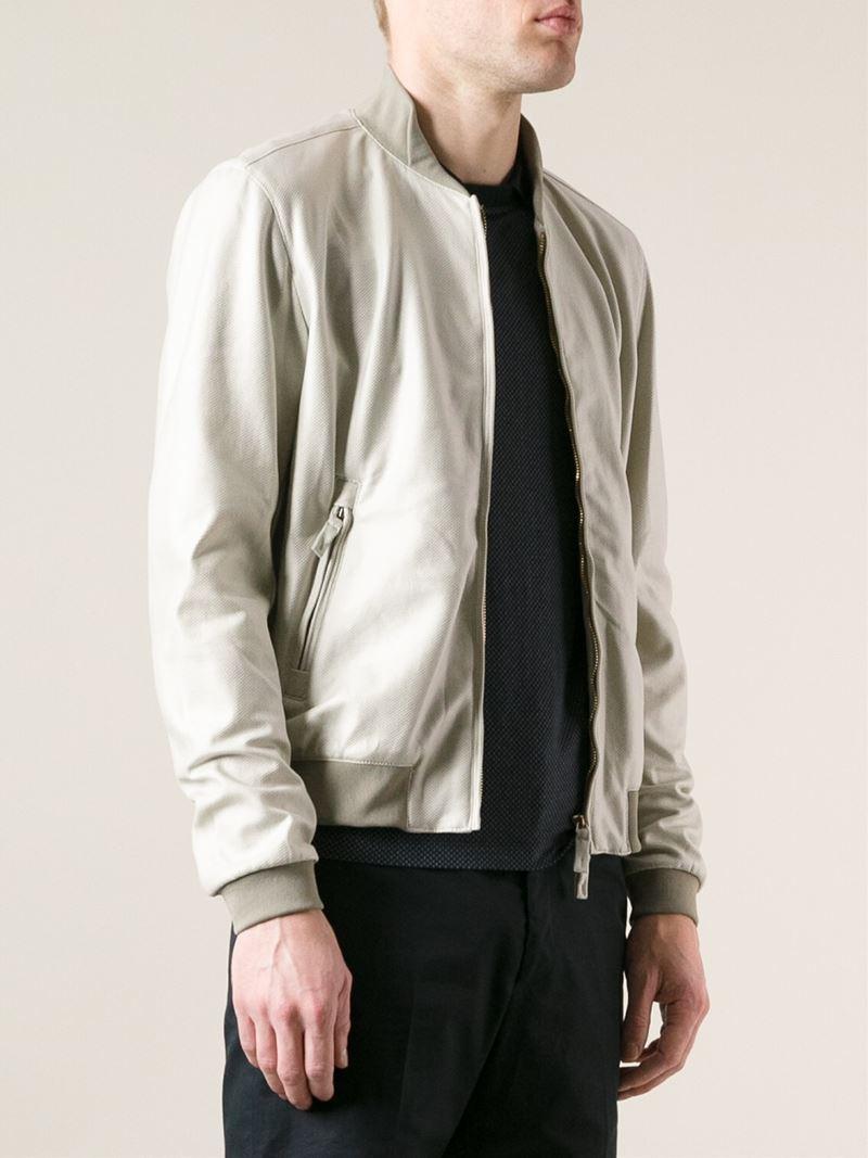 Lyst Armani Bomber Jacket In Natural For Men