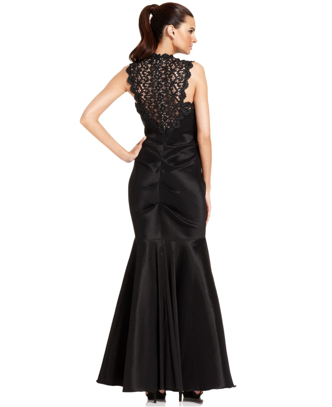 Lyst - Xscape Petite Sleeveless Glitter-lace Mermaid Gown in Black