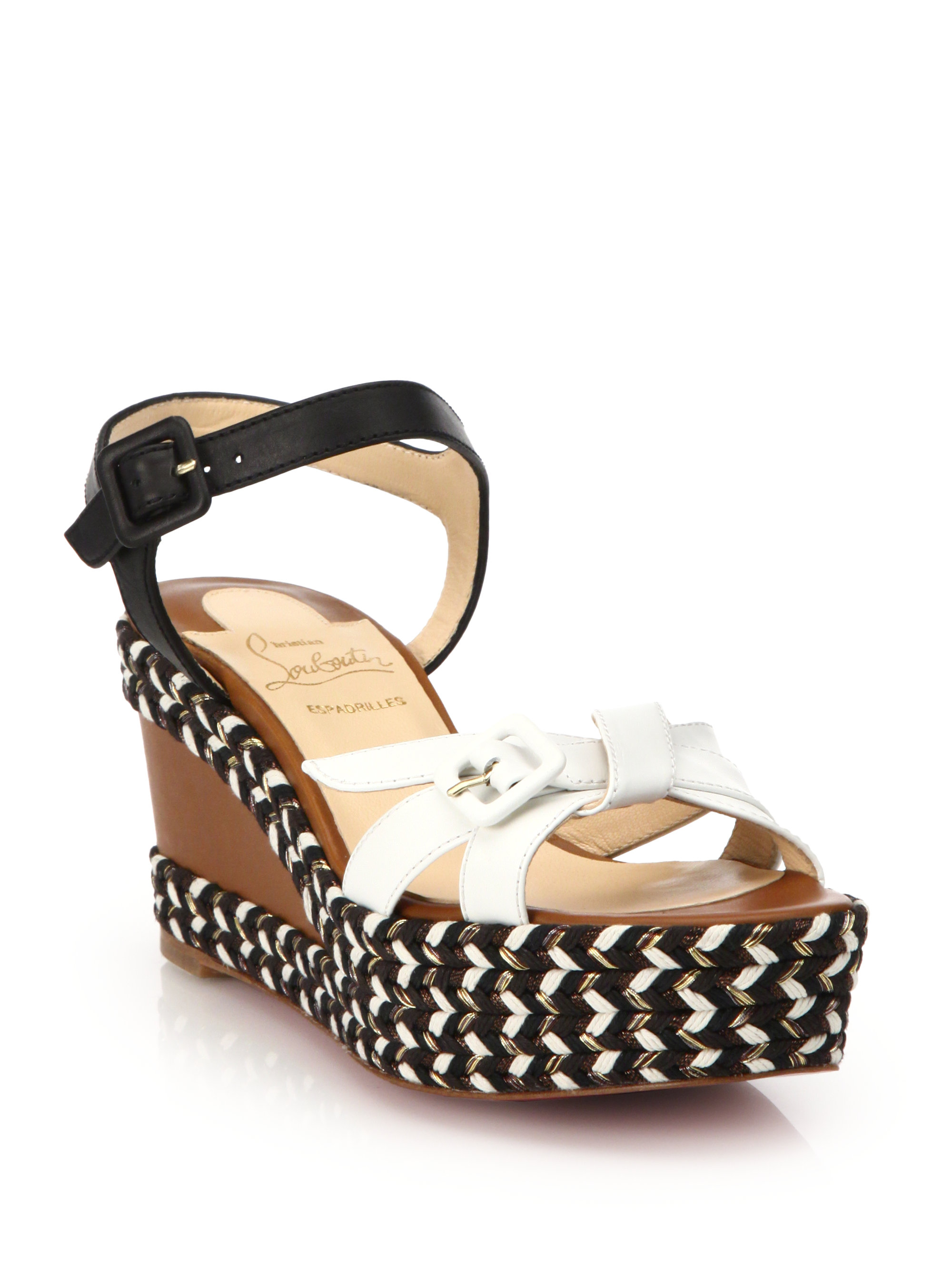 9db53e94255 ... low price lyst christian louboutin lagoa rope trimmed leather wedge  sandals 037f4 c301c