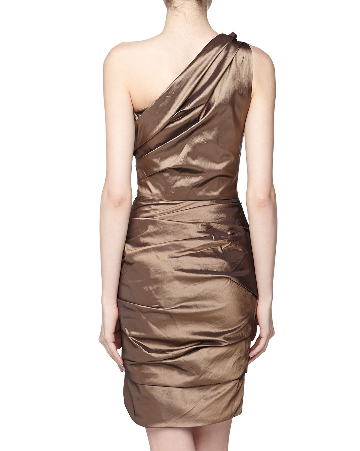 Halston Oneshoulder Tuck Pleated Cocktail Dress Bronze 8 in Brown ...