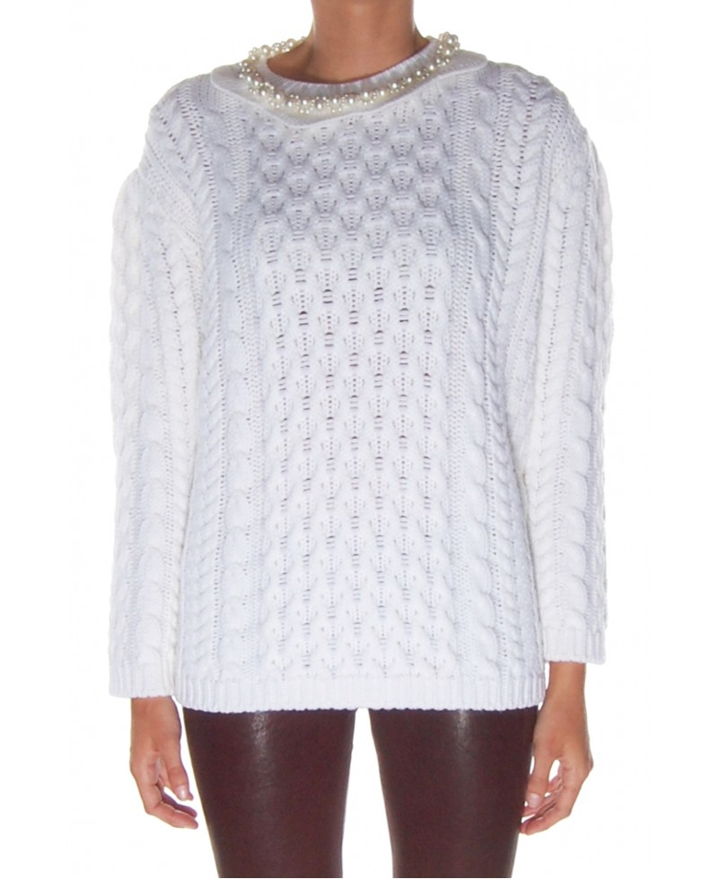 Simone Rocha Chunky Knit Sweater With Pearls In White Lyst