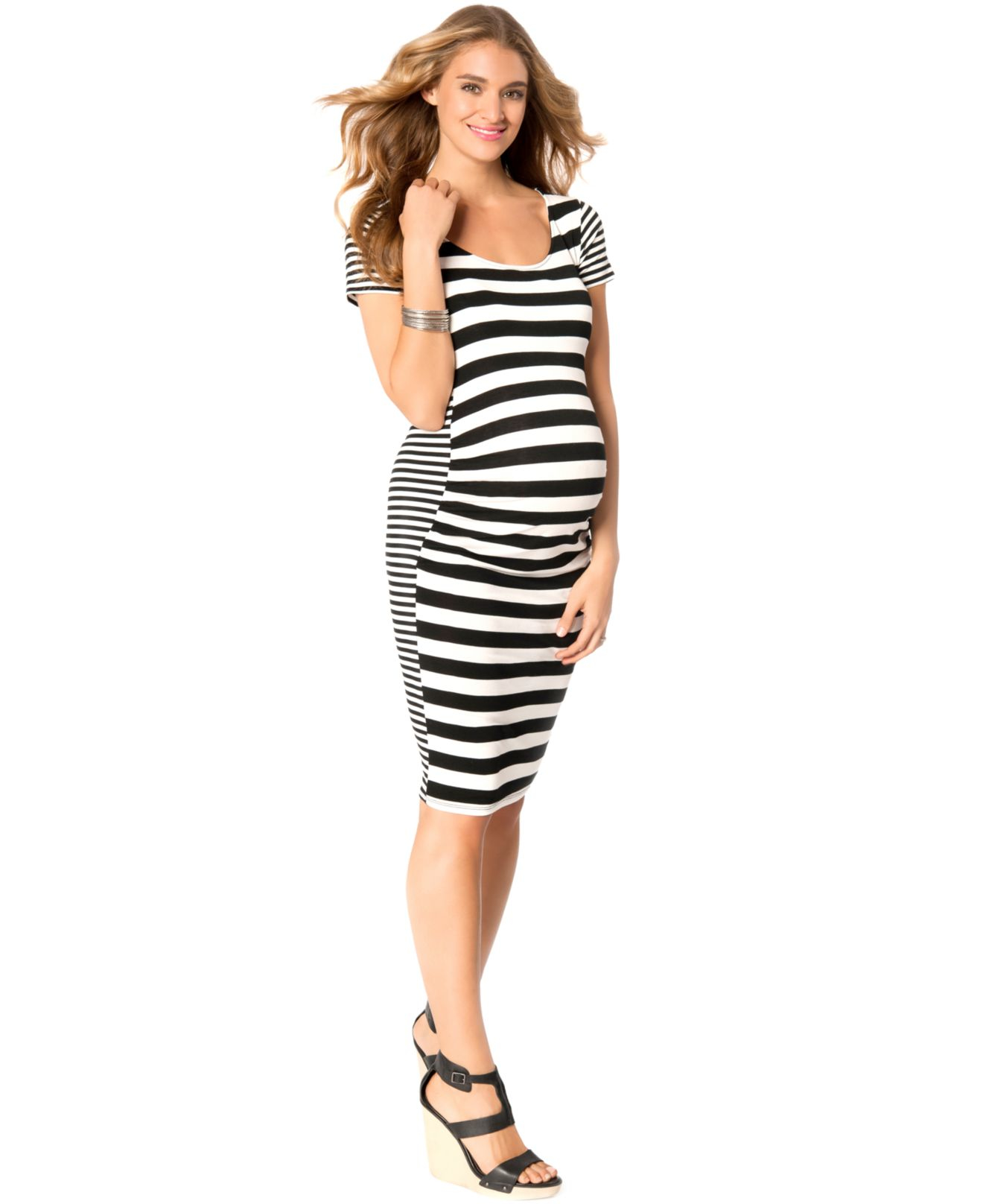 Jessica simpson maternity striped bodycon dress in black lyst gallery ombrellifo Gallery