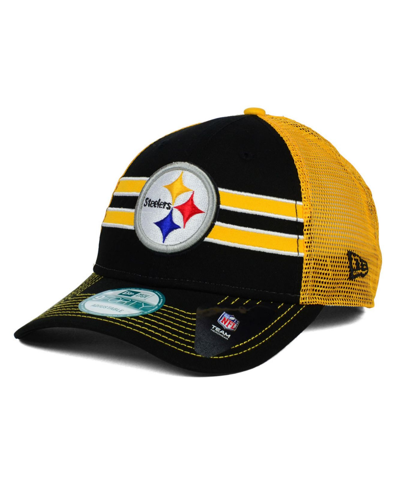 880a1079 KTZ Pittsburgh Steelers Frontband Trucker 9Forty Cap in Yellow for ...