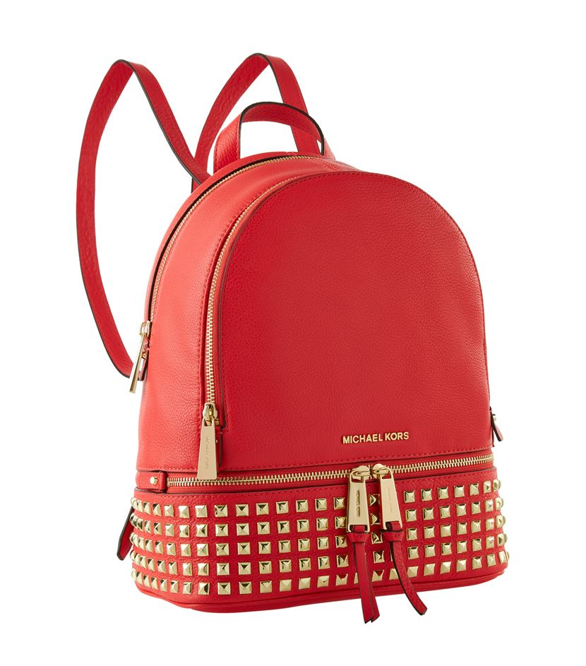 a6f1bd1e50041 ... spain michael michael kors rhea small studded backpack in red lyst  a2688 533ed