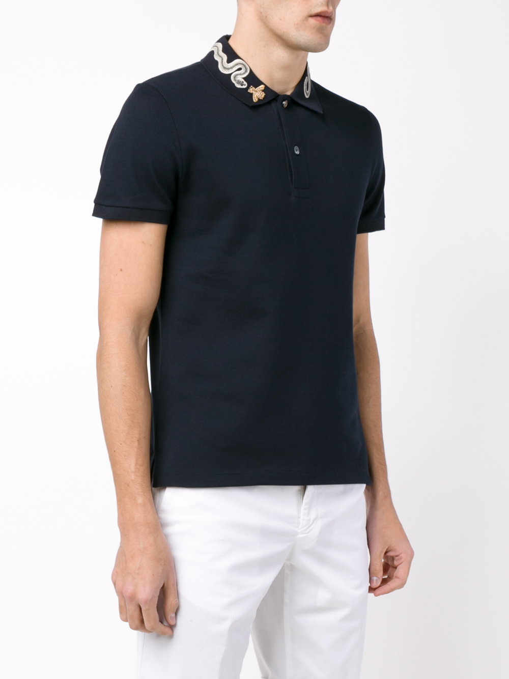 ea05d08b8 Gucci Snake And Bee Collar Polo Shirt in Blue for Men - Lyst
