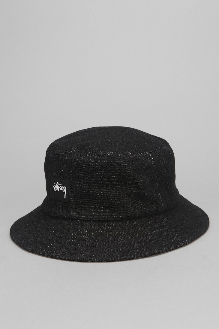 8c7ba6f2f21 Lyst - Stussy Denim Bucket Hat in Black for Men