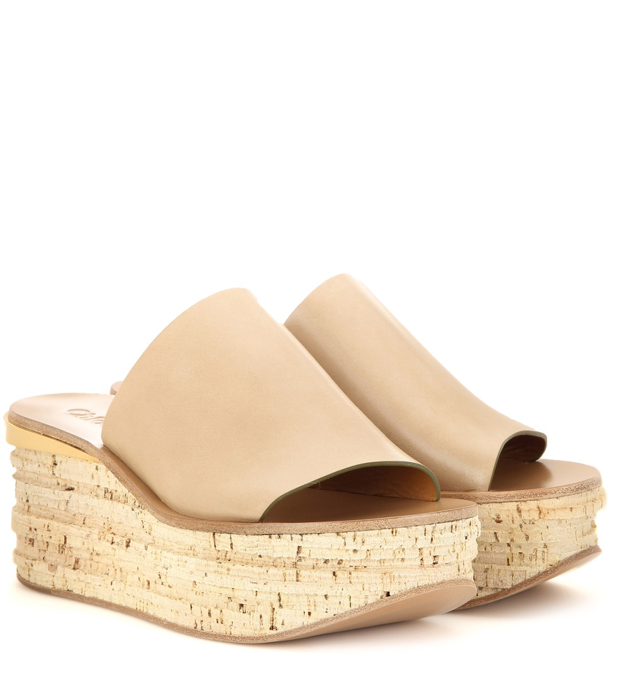 Shop Chloé White Camille Wedge Mules for Women | Ounass UAE