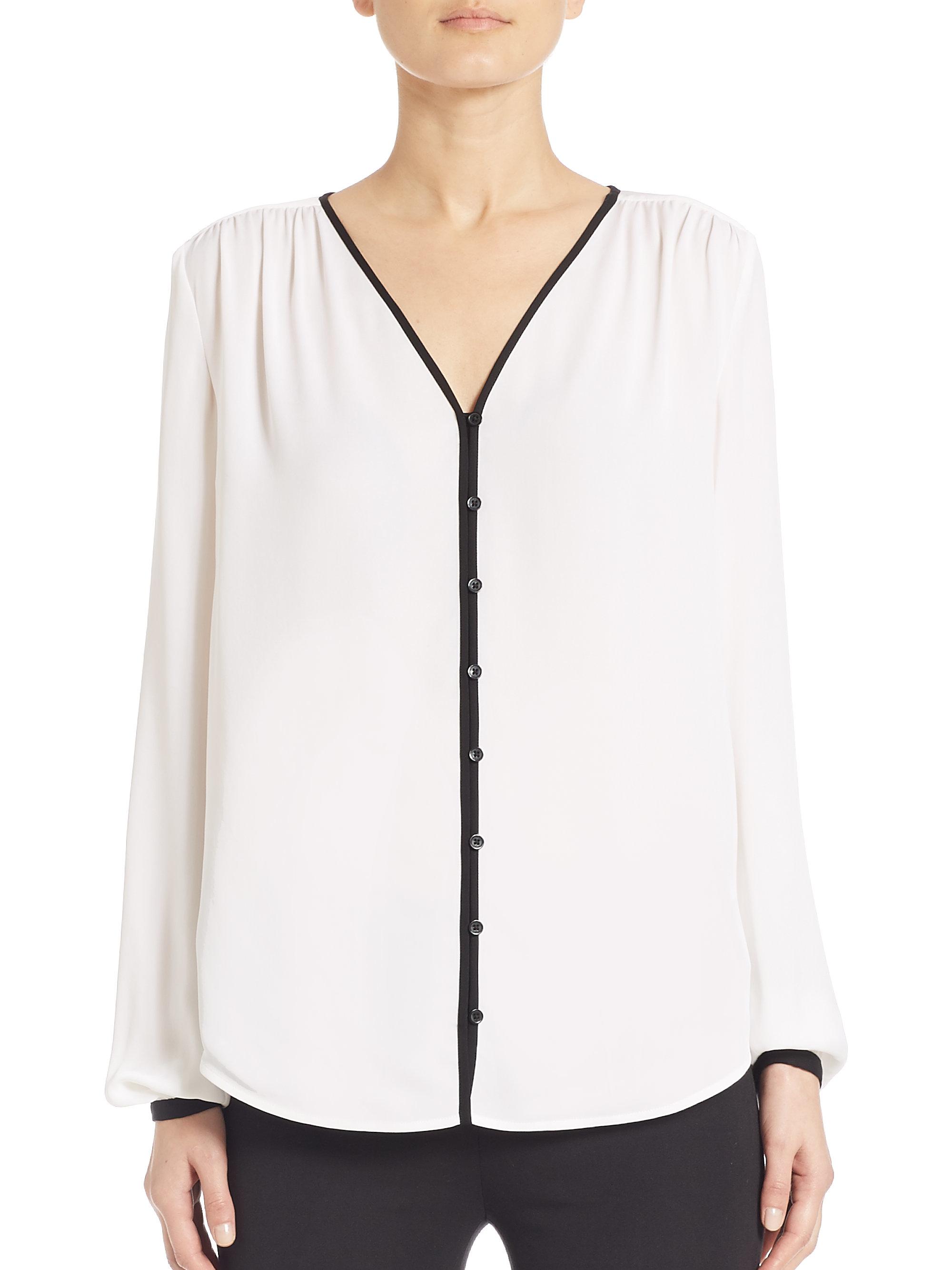 White Silk V-Neck Blouse 9