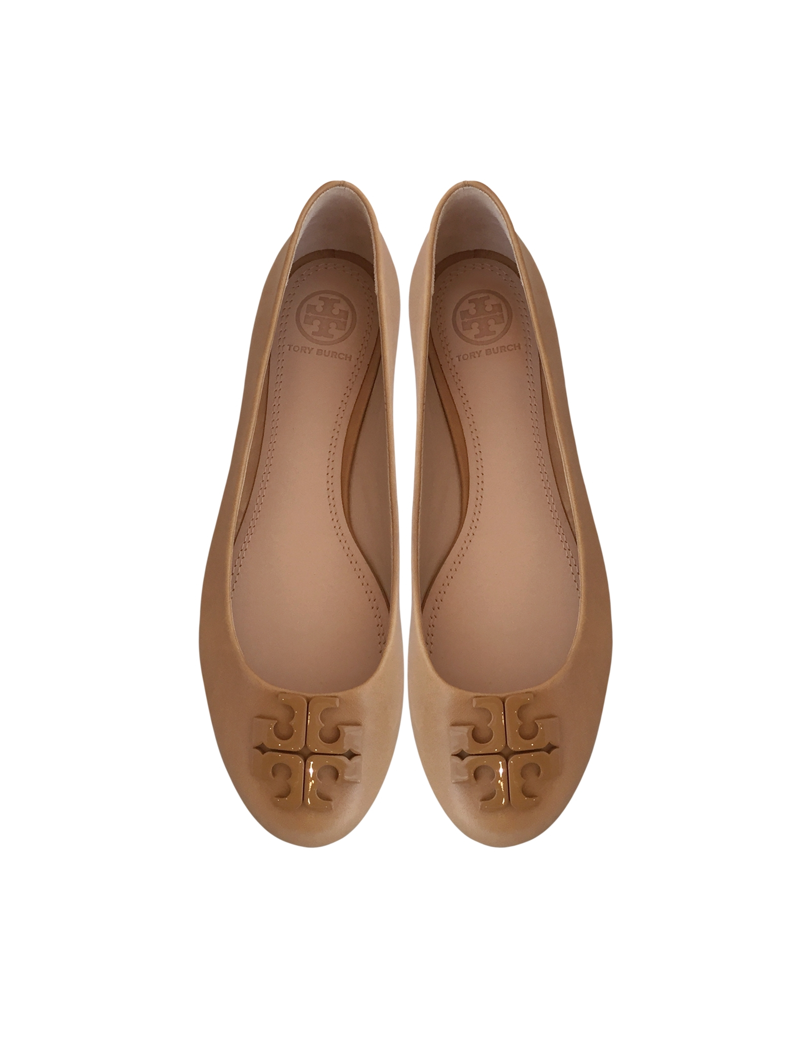 f2ecb76af73d Lyst - Tory Burch Lowell Blond Leather Ballerina in Natural