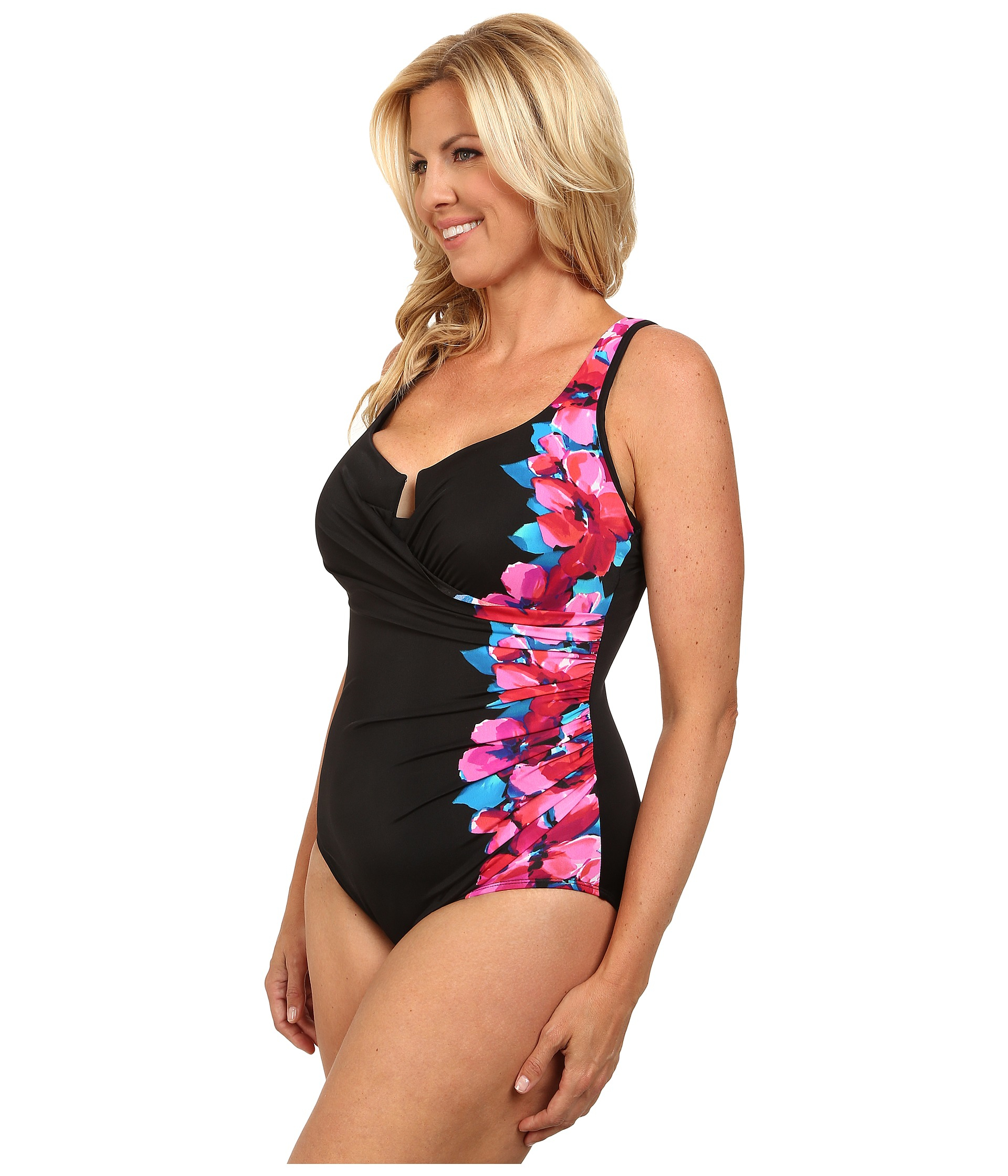 b13401a4985 Miraclesuit Plus Size Garland Escape Swimsuit in Pink - Lyst