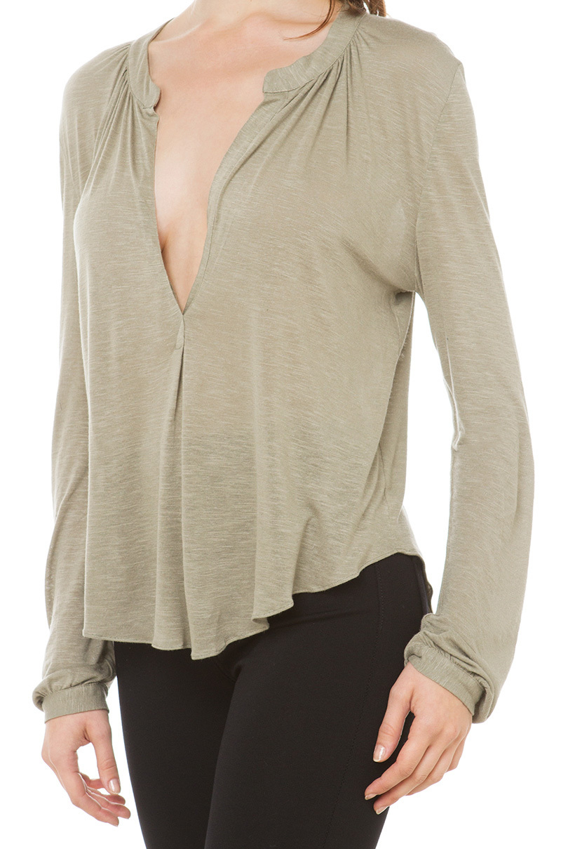Akira black label extreme deep v shirt olive in natural for Akira long sleeve shirt