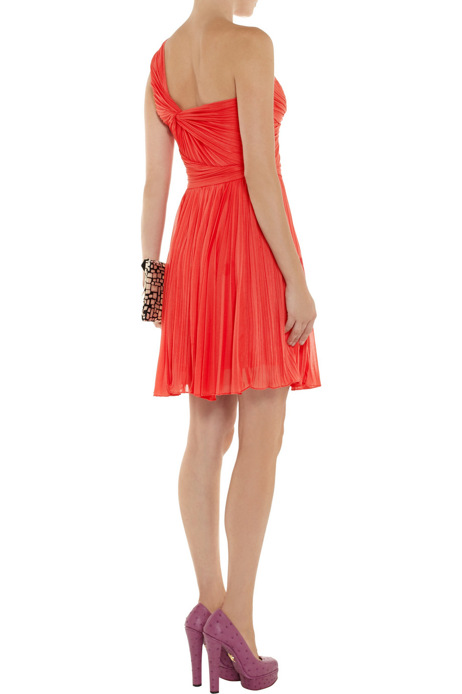 Halston Oneshoulder Pliss 233 Jersey Dress In Coral Orange