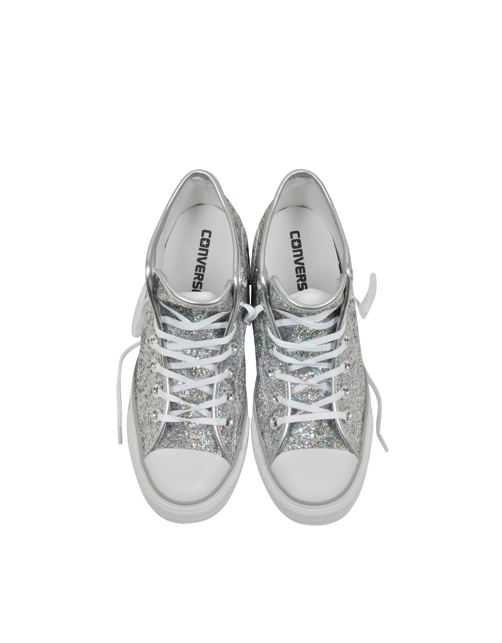ccfb52c7c2ca Lyst - Converse All Star Mid Lux Glitter Wedge Sneaker in Gray