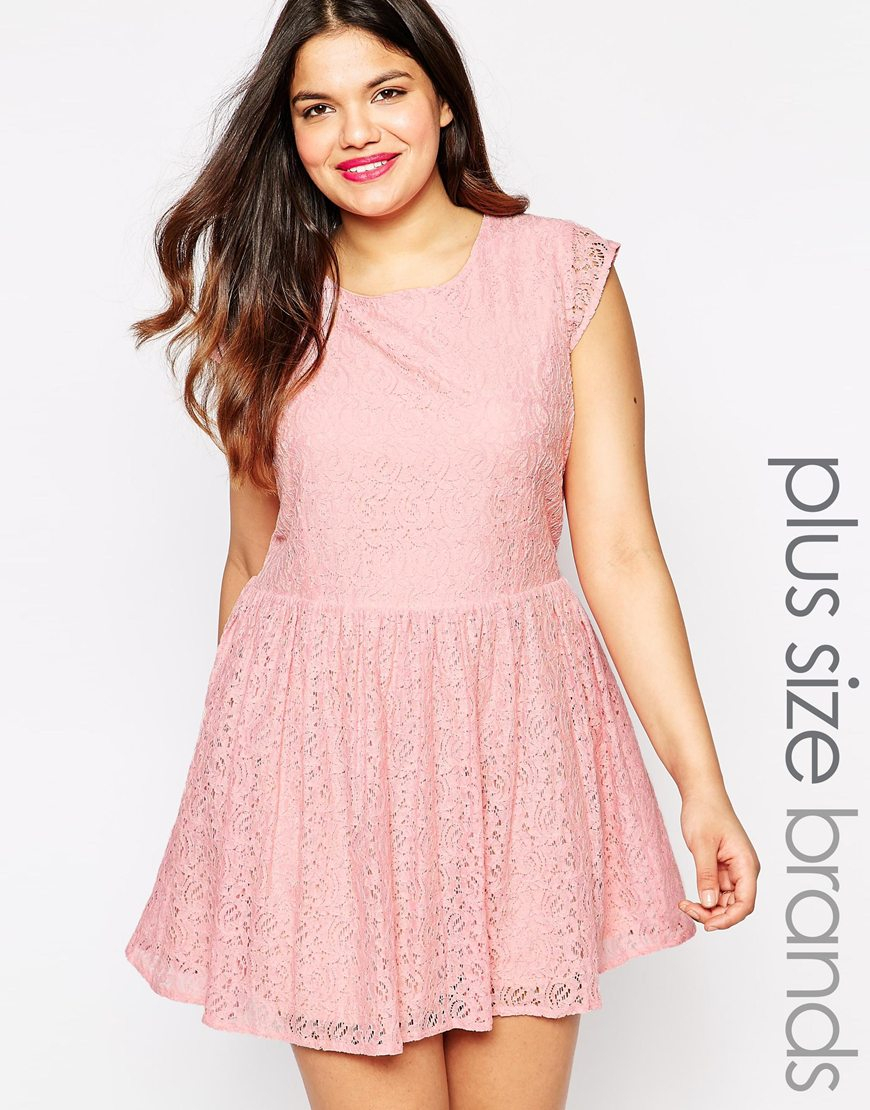 Diya Plus Size White And Green Ombre Lace Dress in Pink | Lyst