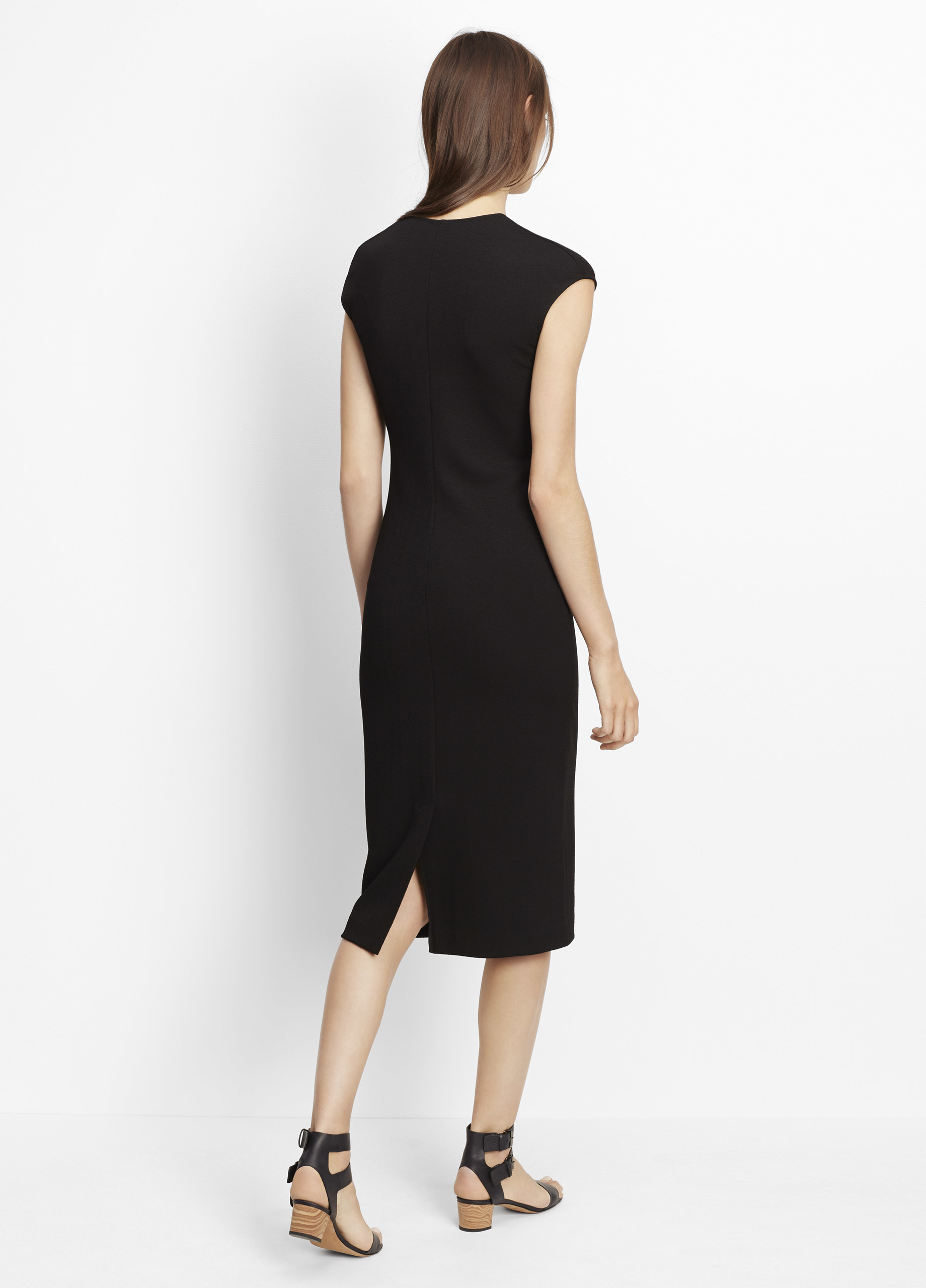 Lyst Vince V Neck Sheath Dress In Black