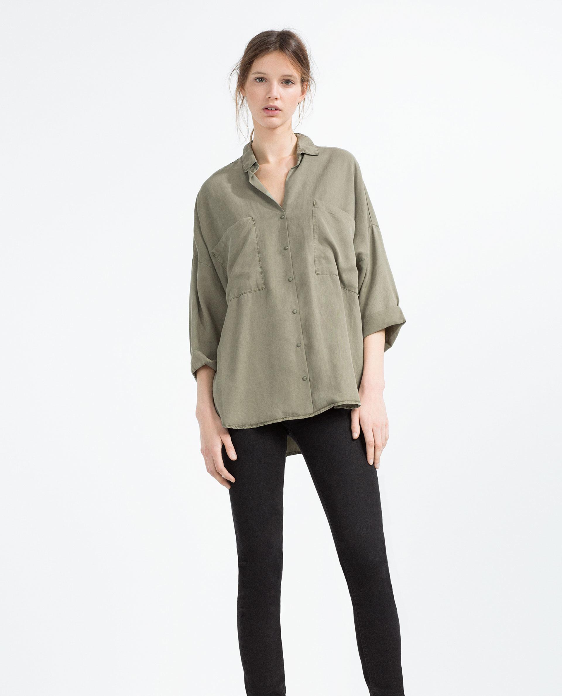 zara oversized shirt in natural lyst. Black Bedroom Furniture Sets. Home Design Ideas