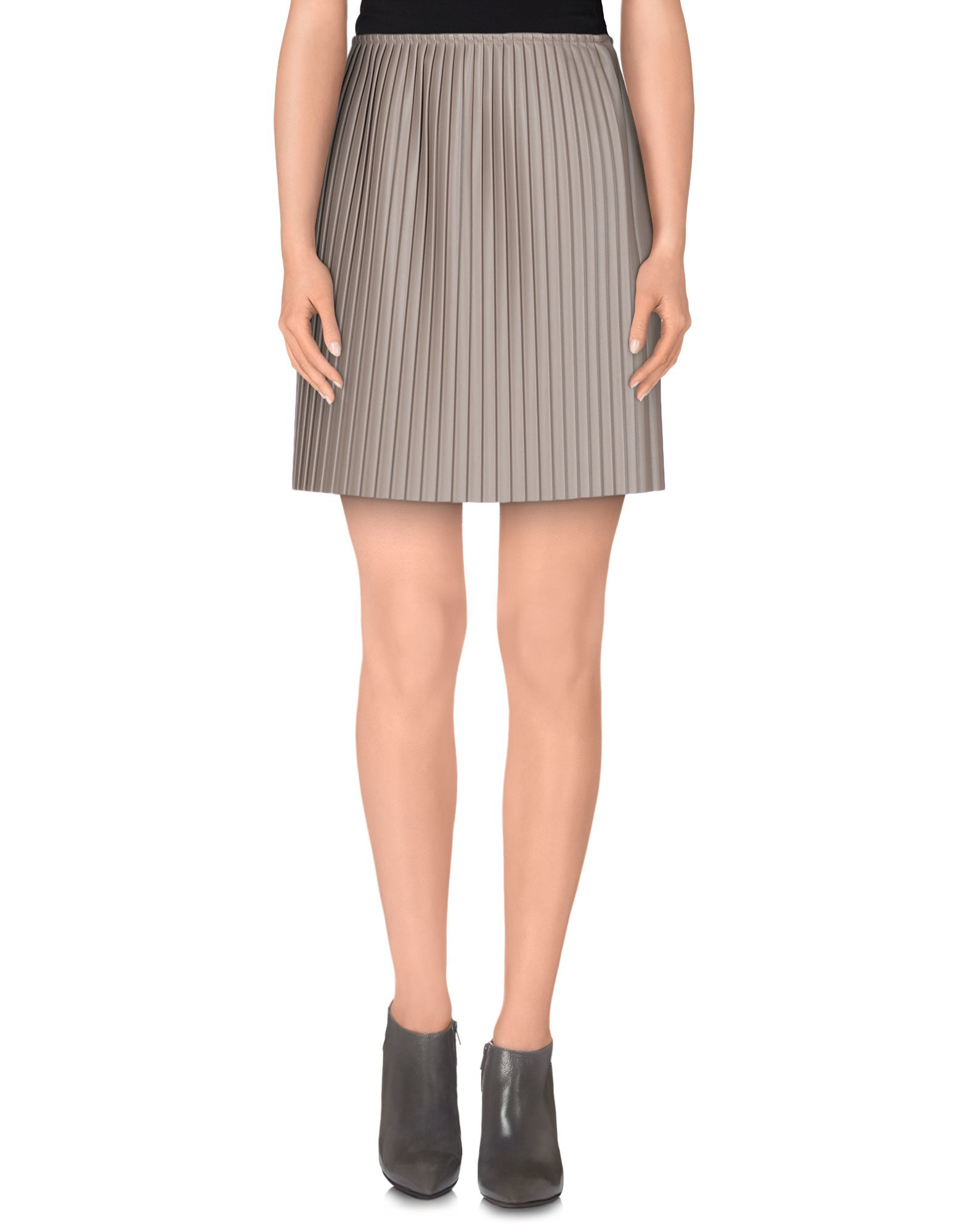 msgm knee length skirt in gray grey save 75 lyst