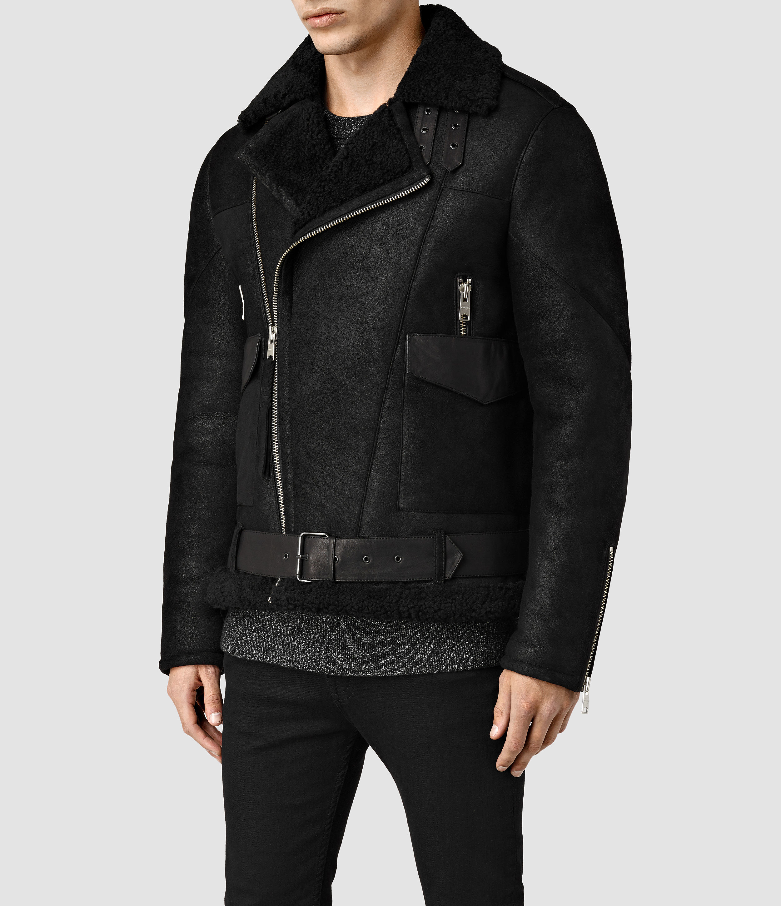 Allsaints Takoma Shearling Jacket in Black for Men | Lyst