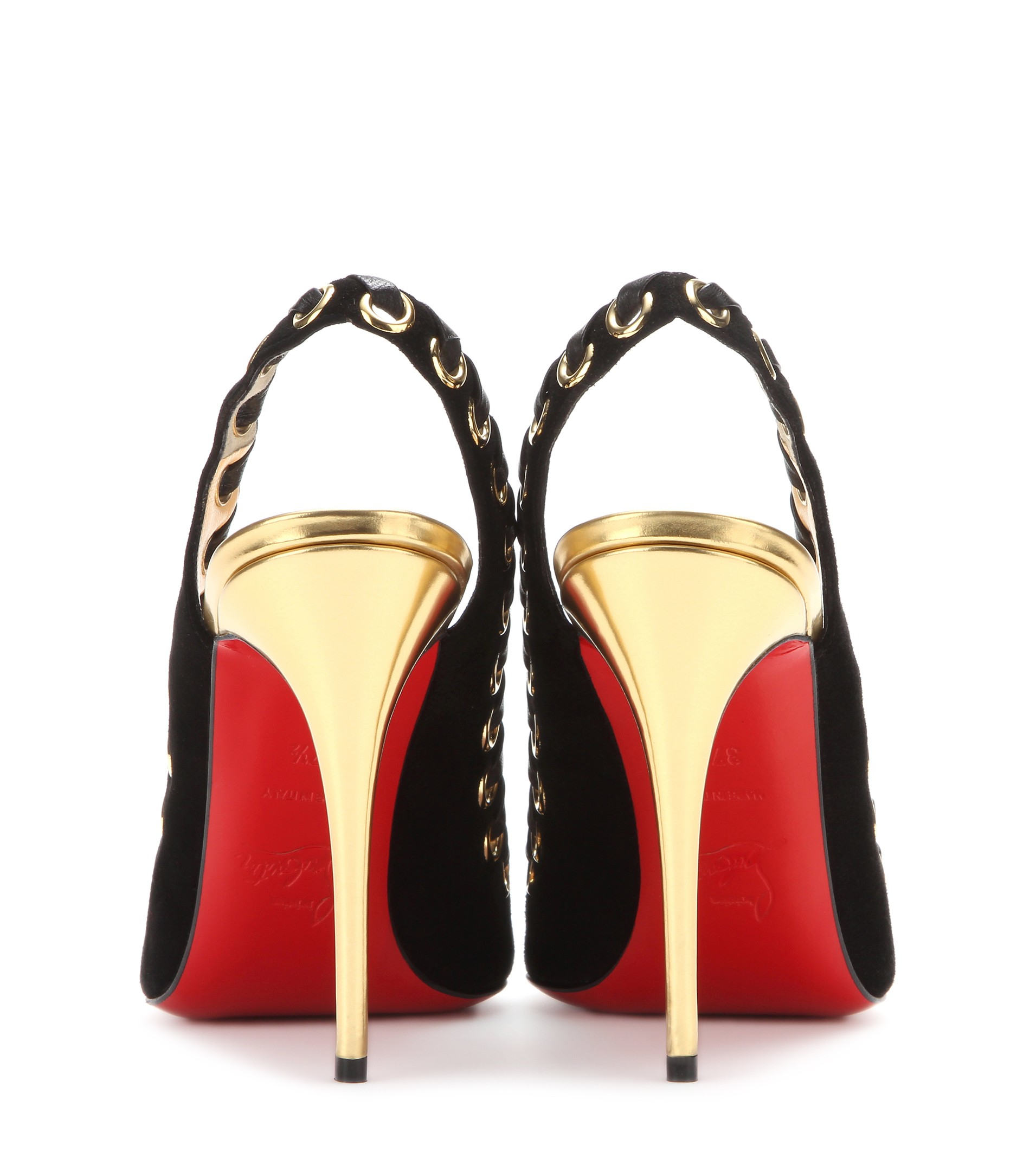 Christian louboutin Ostri Suede Slingback Pumps in Gold (Version ...