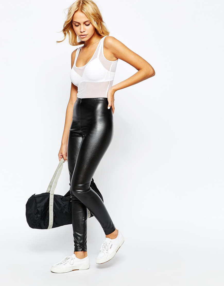 american apparel vegan leather leggings with ankle zip