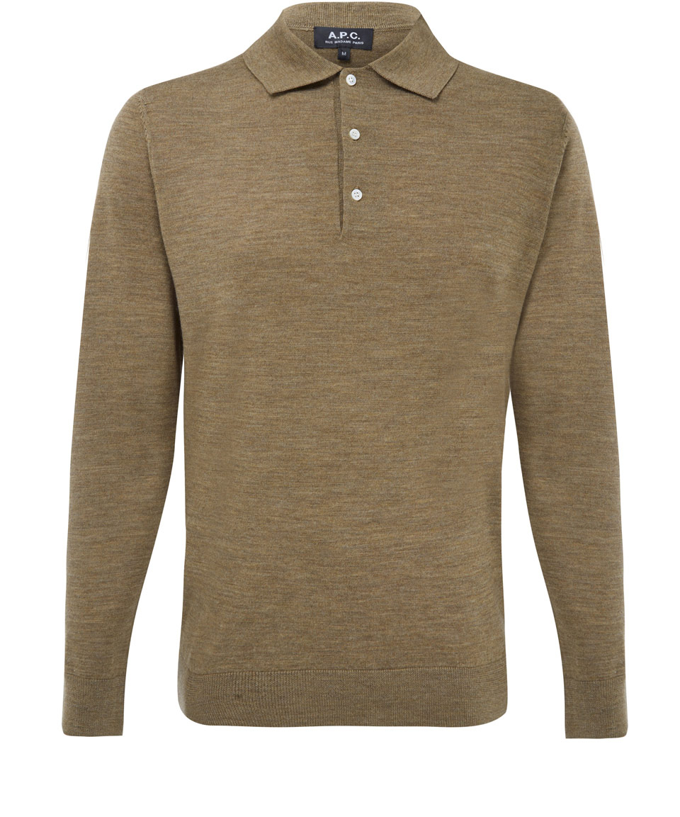 Lyst A P C Brown Long Sleeve Wool Polo Shirt In Brown