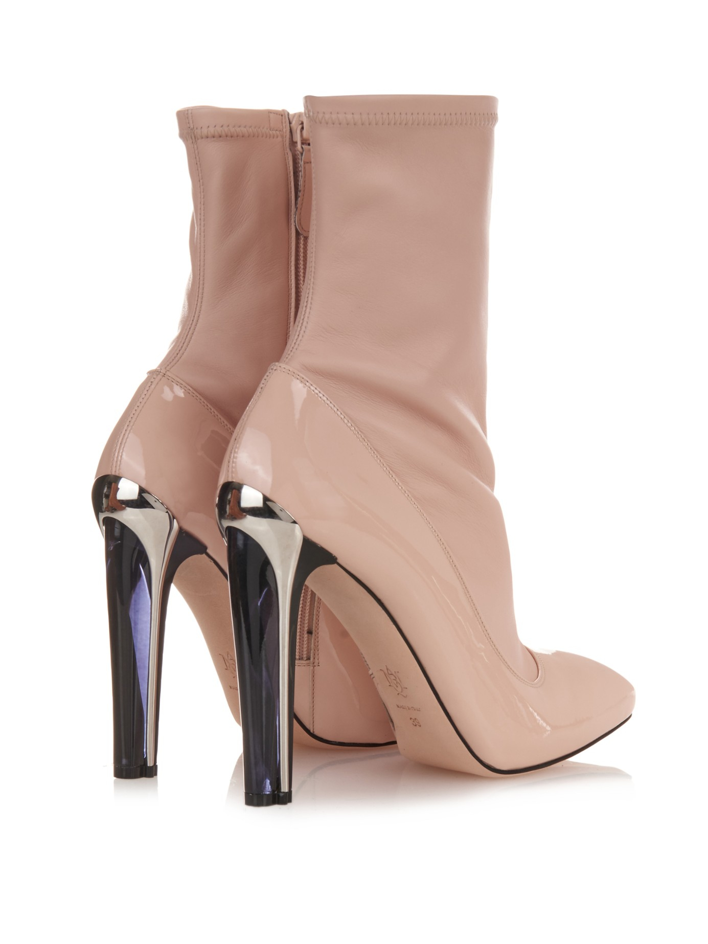 5eed3b688d9 Lyst - Alexander McQueen Perspex-Heel Leather Ankle Boots in Pink