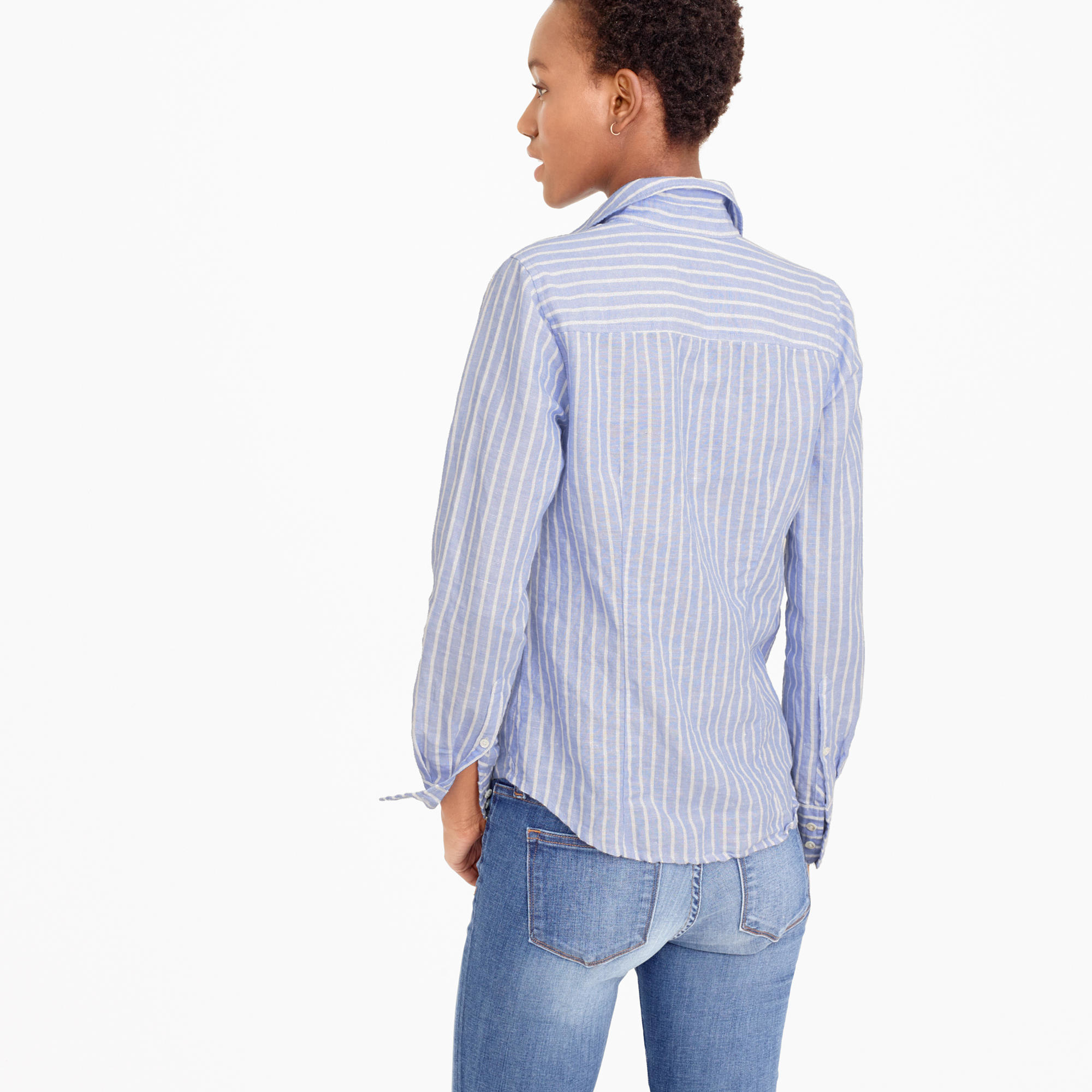 tall perfect shirt in striped cotton linen in