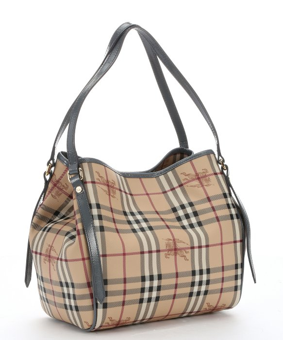 eb655686bf Burberry Storm Grey Leather And Honey Haymarket Check Coated Canvas ...
