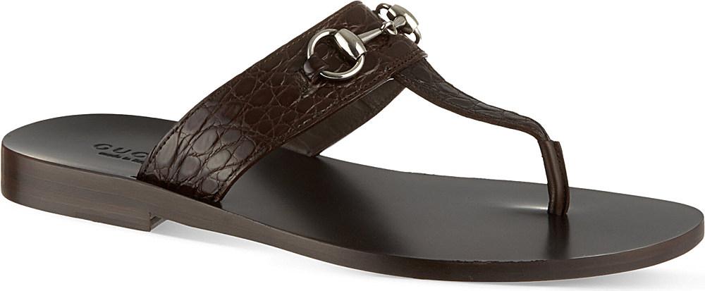 05e5a54ed8082 Gucci Ben Horsebit Thong Sandals - For Men in Brown for Men - Lyst