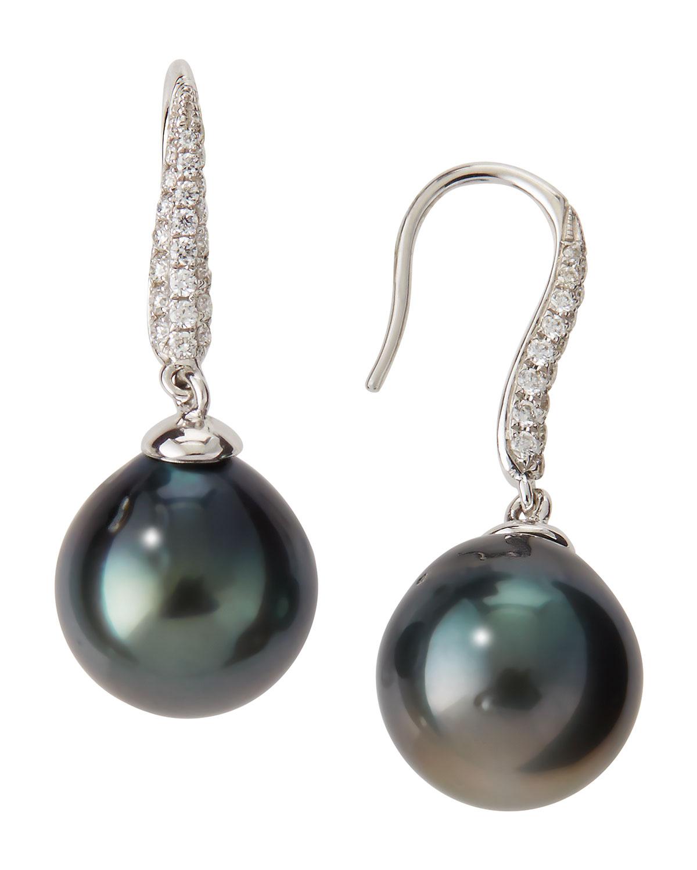 Lyst Belpearl Black Tahitian Pearl Diamond Drop Earrings