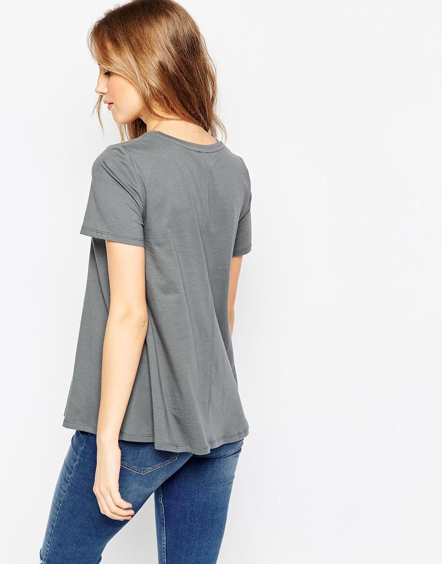 Asos swing t shirt grey in gray lyst for Asos design free t shirt