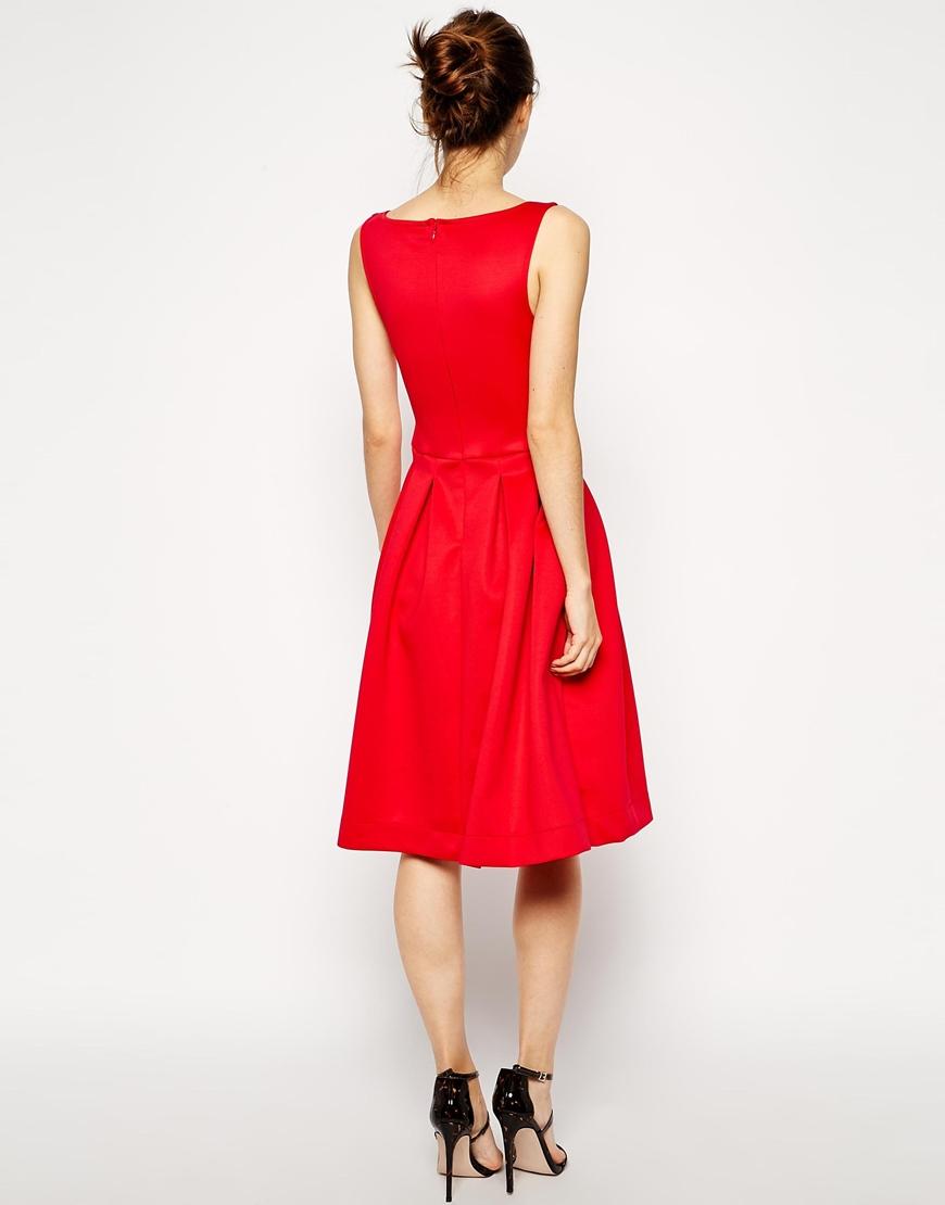 b38093eb2ca ASOS Sleeveless Debutante Midi Dress in Red - Lyst