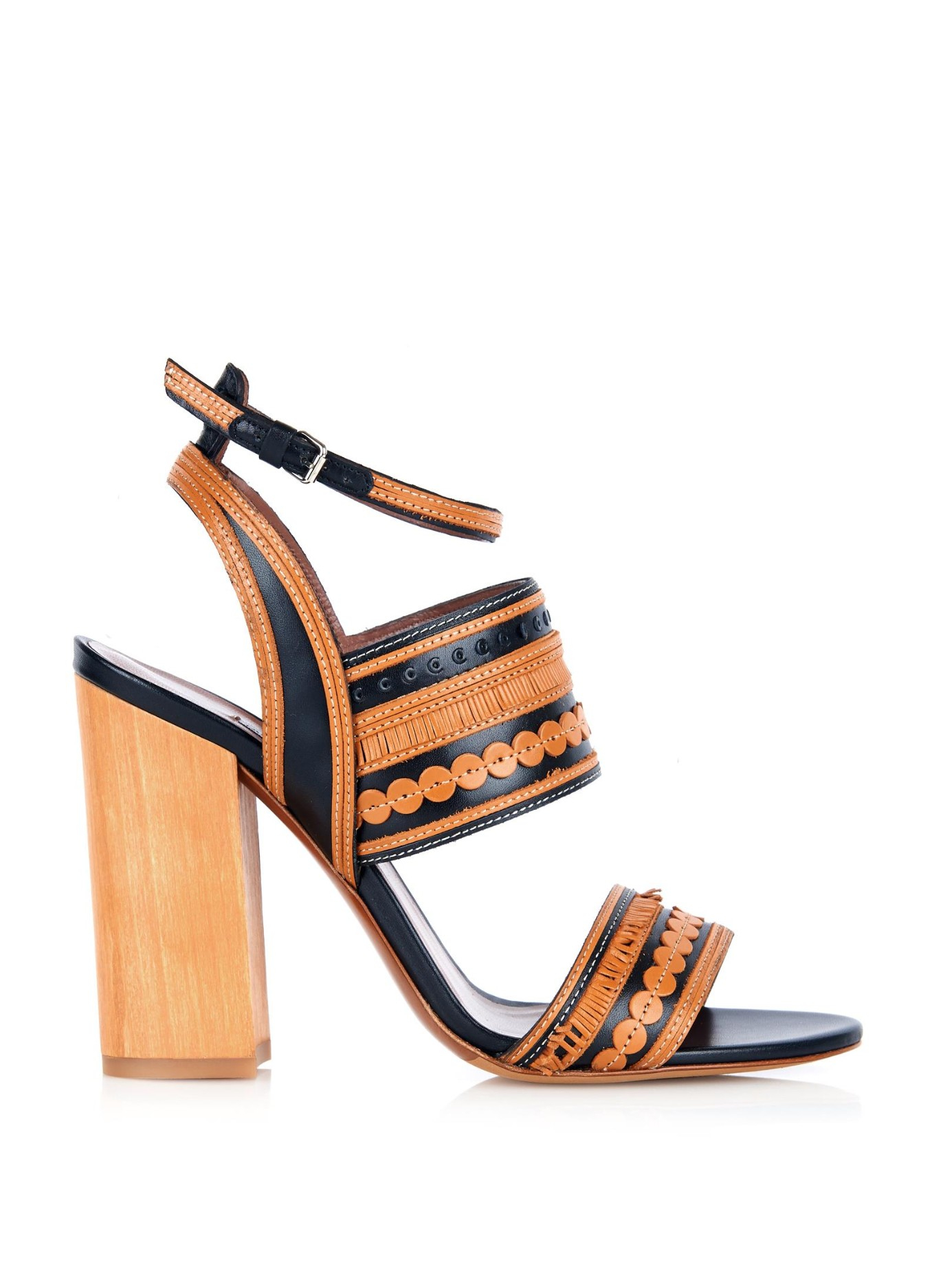 8c06e132d Tabitha Simmons Shaewood Block-Heel Leather Sandals in Black - Lyst