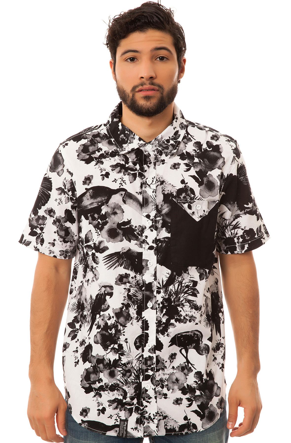 Lrg short sleeve button down shirt in black for men white for Heavy button down shirts