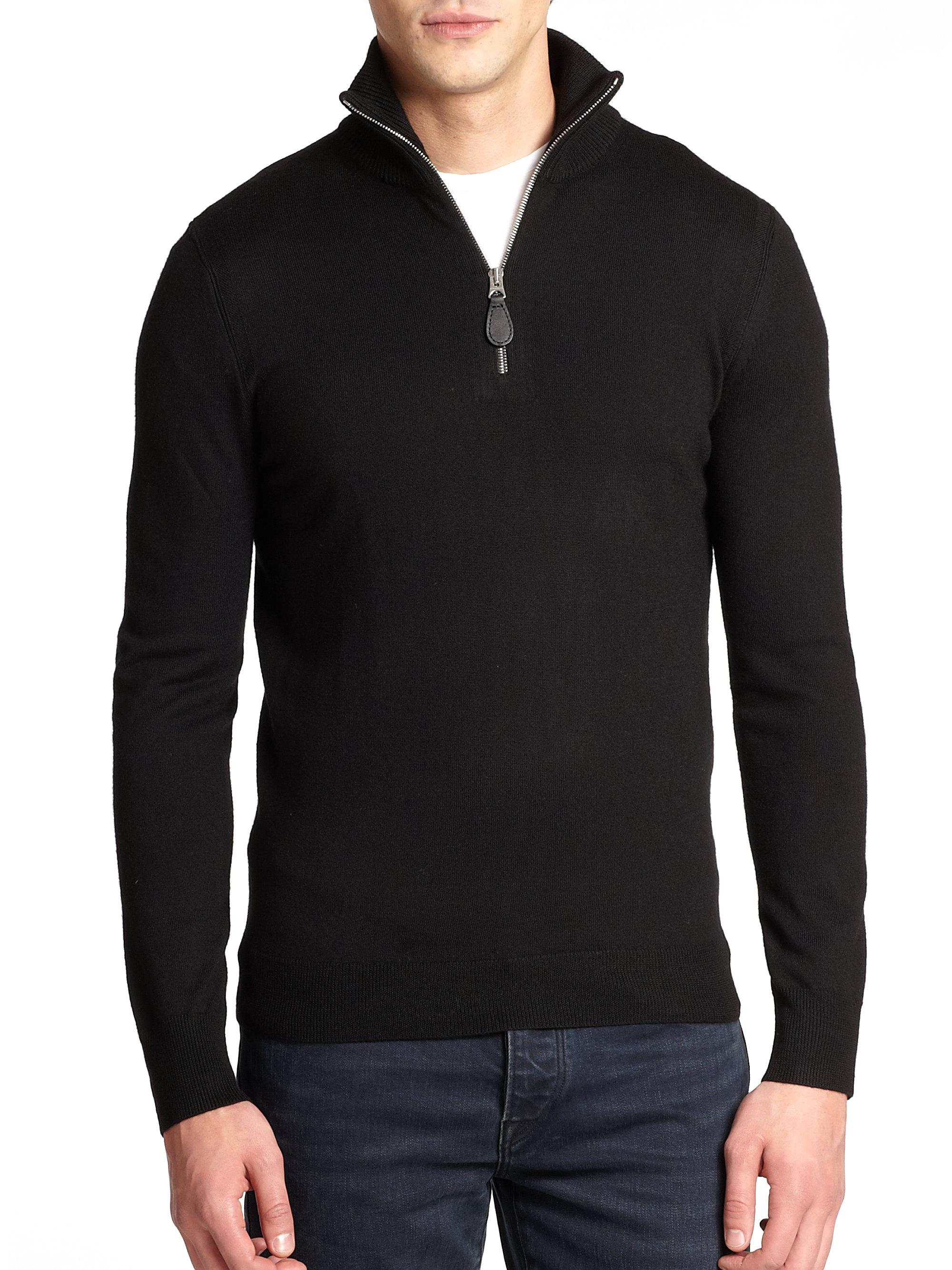 Burberry Drummond Wool Half-zip Sweater in Black for Men | Lyst