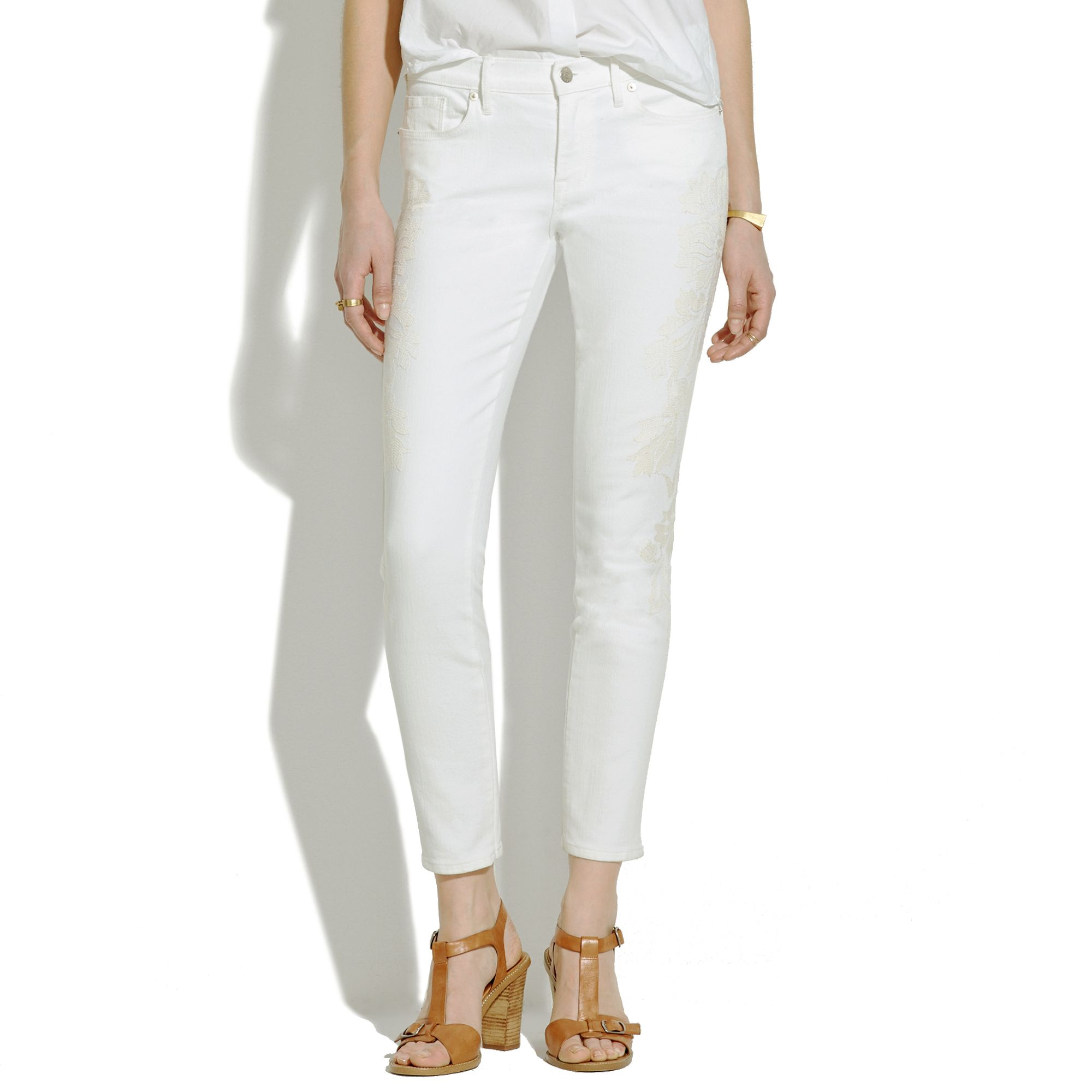 f36c4bd3284 Lyst - Madewell Skinny Skinny Crop Embroidered Jeans in White