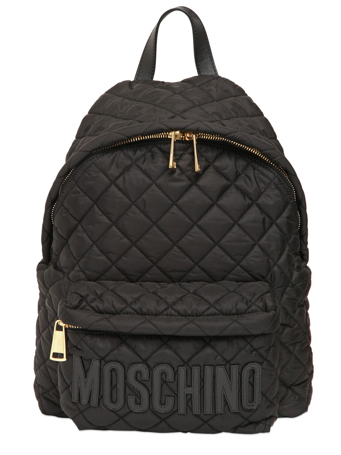 Lyst Moschino Quilted Nylon Backpack In Black