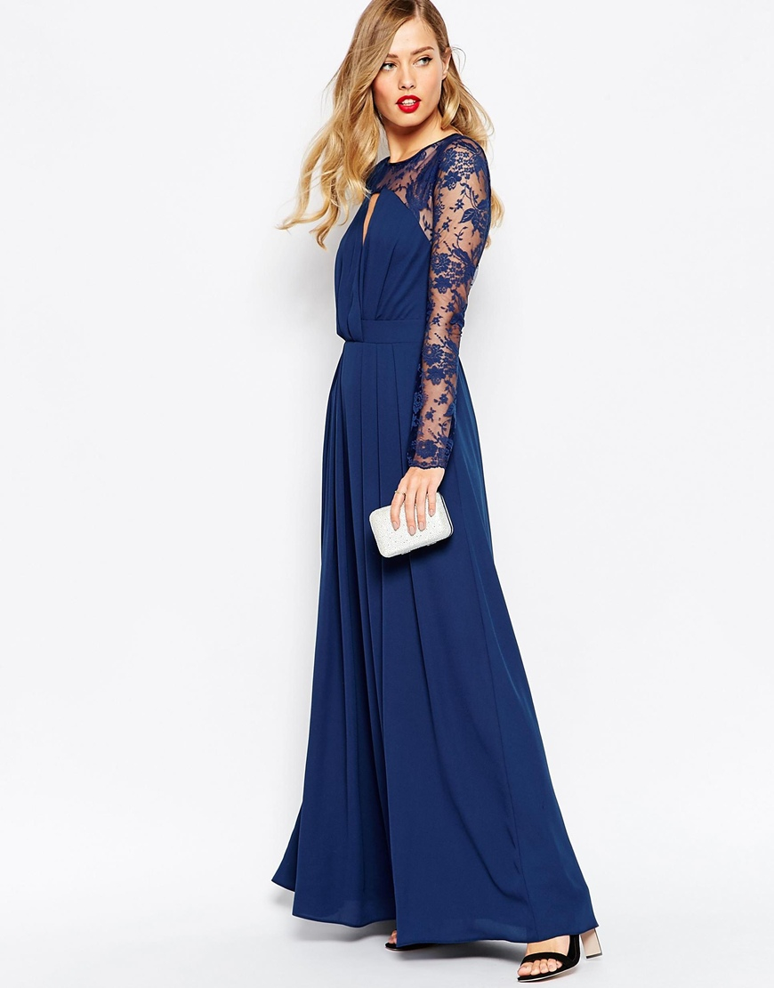 Asos Kate Lace Maxi Dress With Long Sleeves - Navy in Blue | Lyst