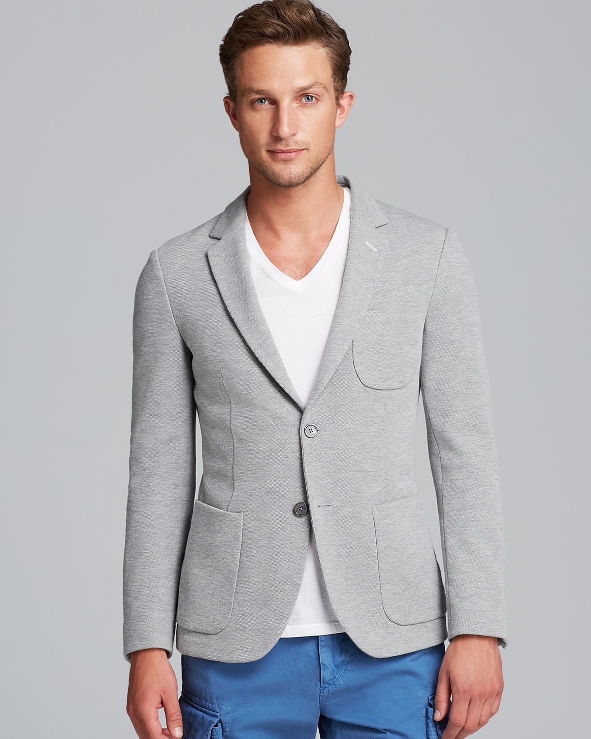 a899832cdae Gant Rugger Pique Unconstructed Blazer in Gray for Men - Lyst