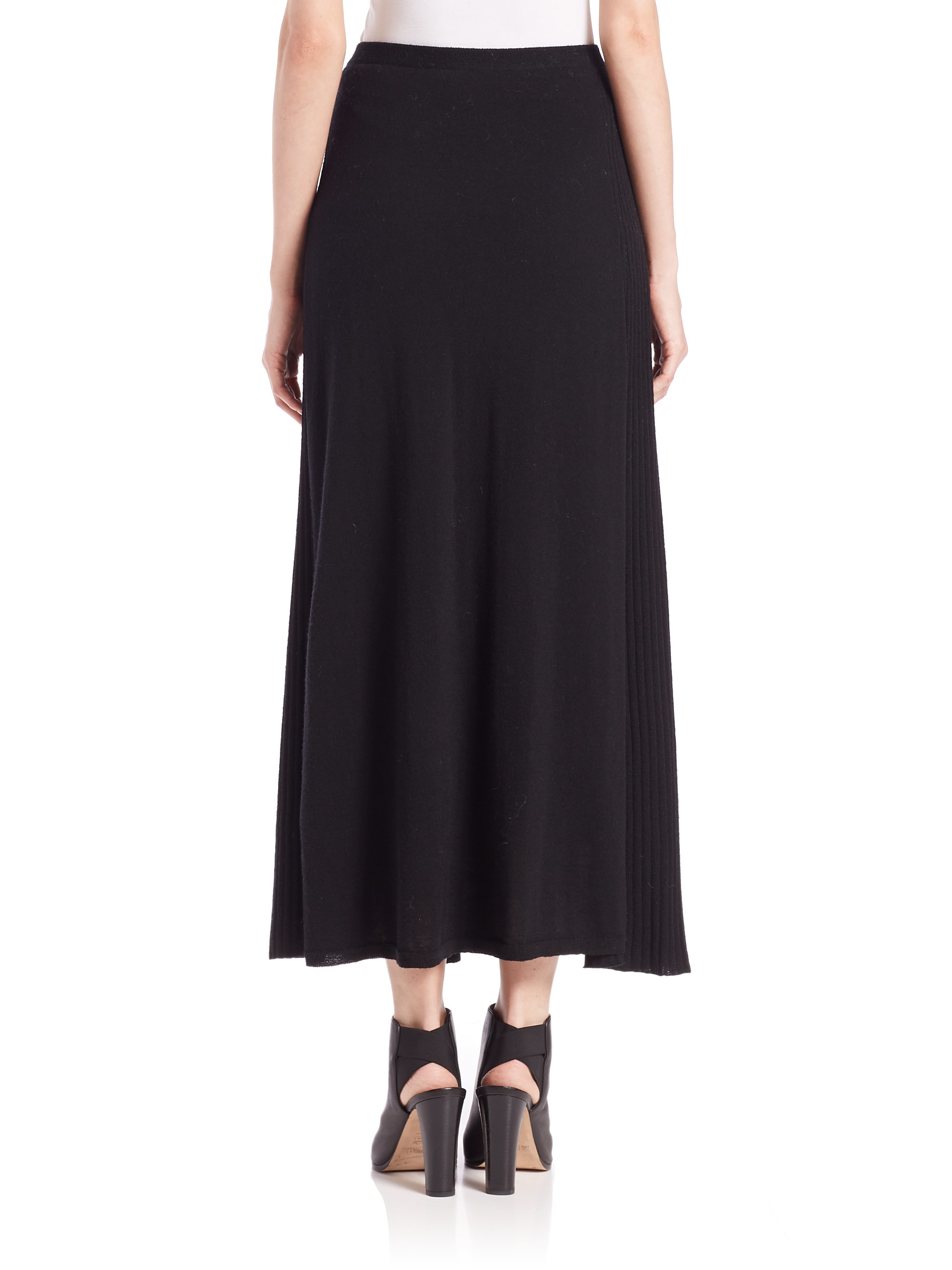 eileen fisher wool jersey pleat detail skirt in black lyst