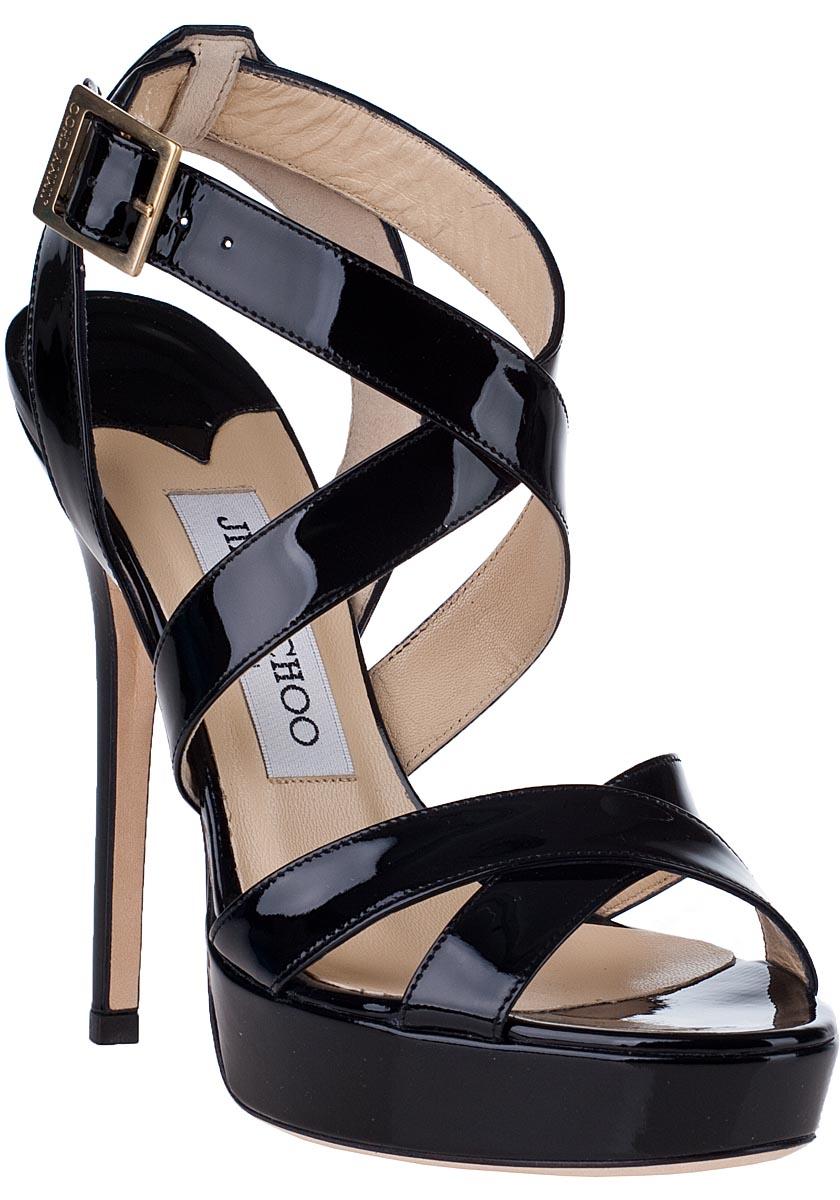 4aaa2fea63e Lyst - Jimmy Choo Vamp Patent-Leather Platform Sandal in Black
