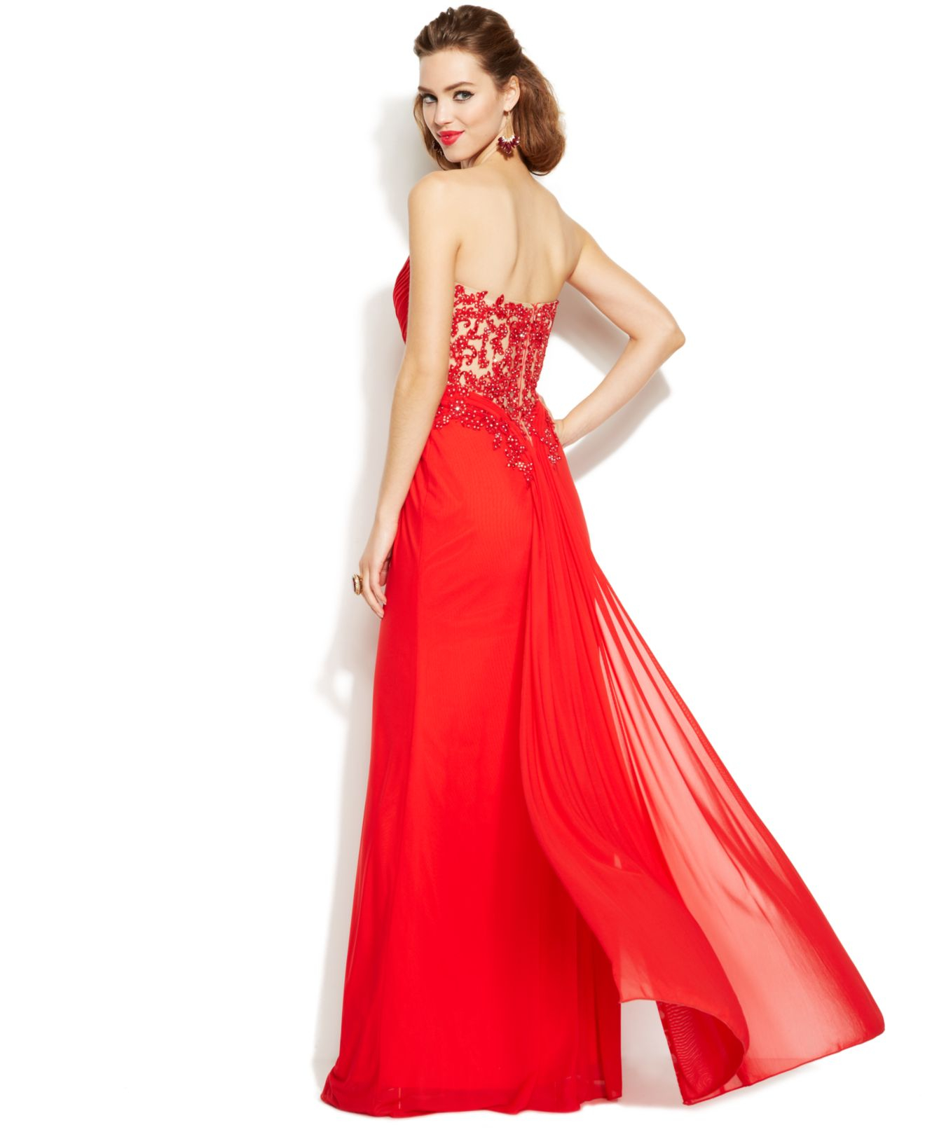 c2a8737517fb Xscape Embellished Illusion Lace Strapless Gown in Red - Lyst