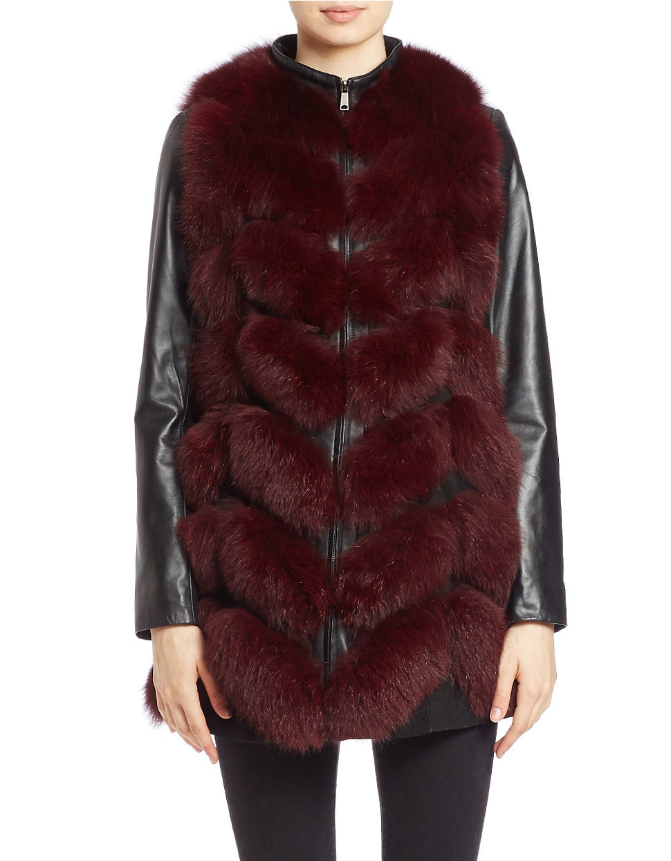 Badgley mischka Leather-sleeve Fox Fur Coat in Purple | Lyst